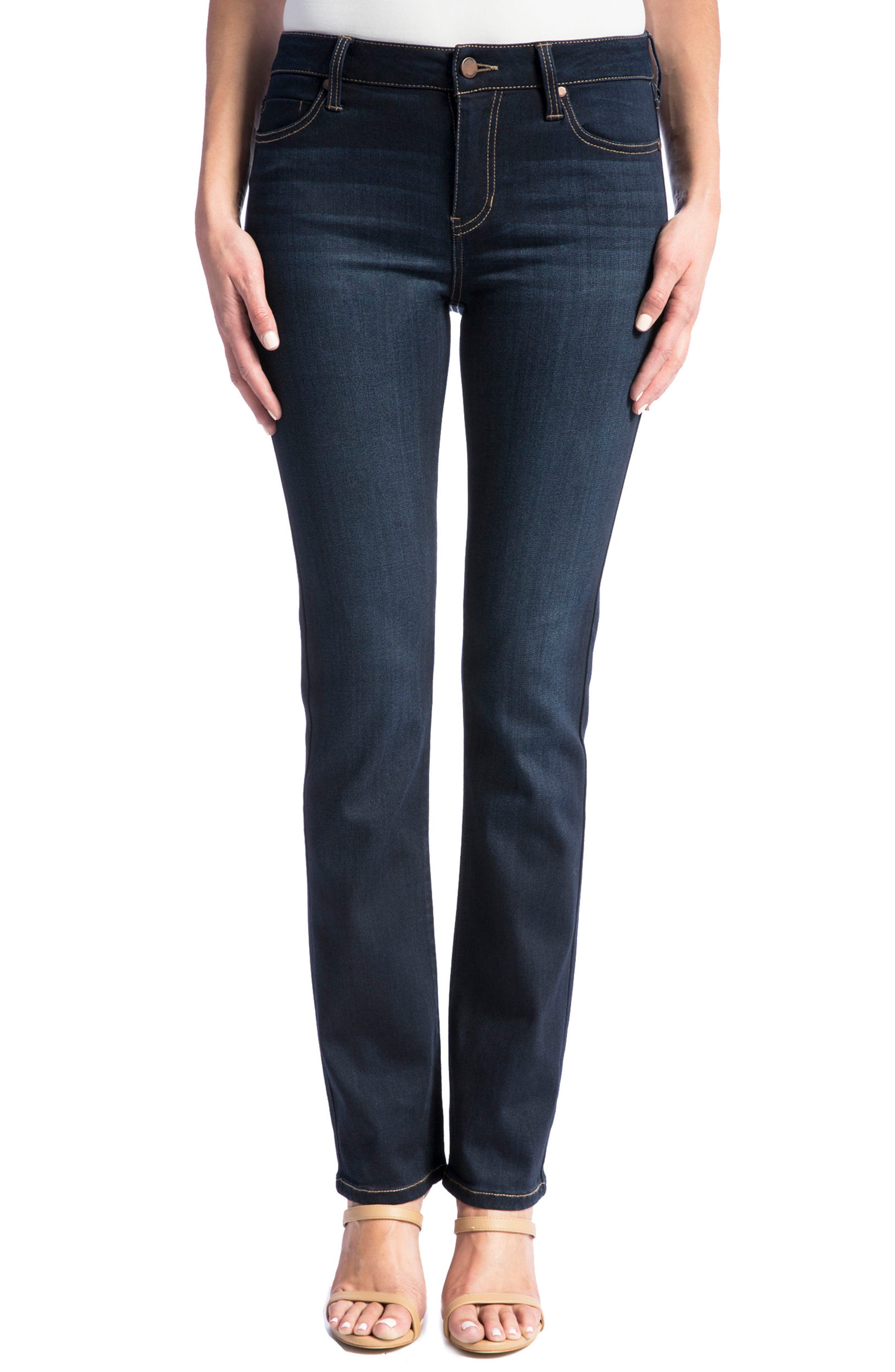 Alternate Image 1 Selected - Liverpool Jeans Co. Sadie Stretch Straight Leg Jeans (Stone) (Petite)