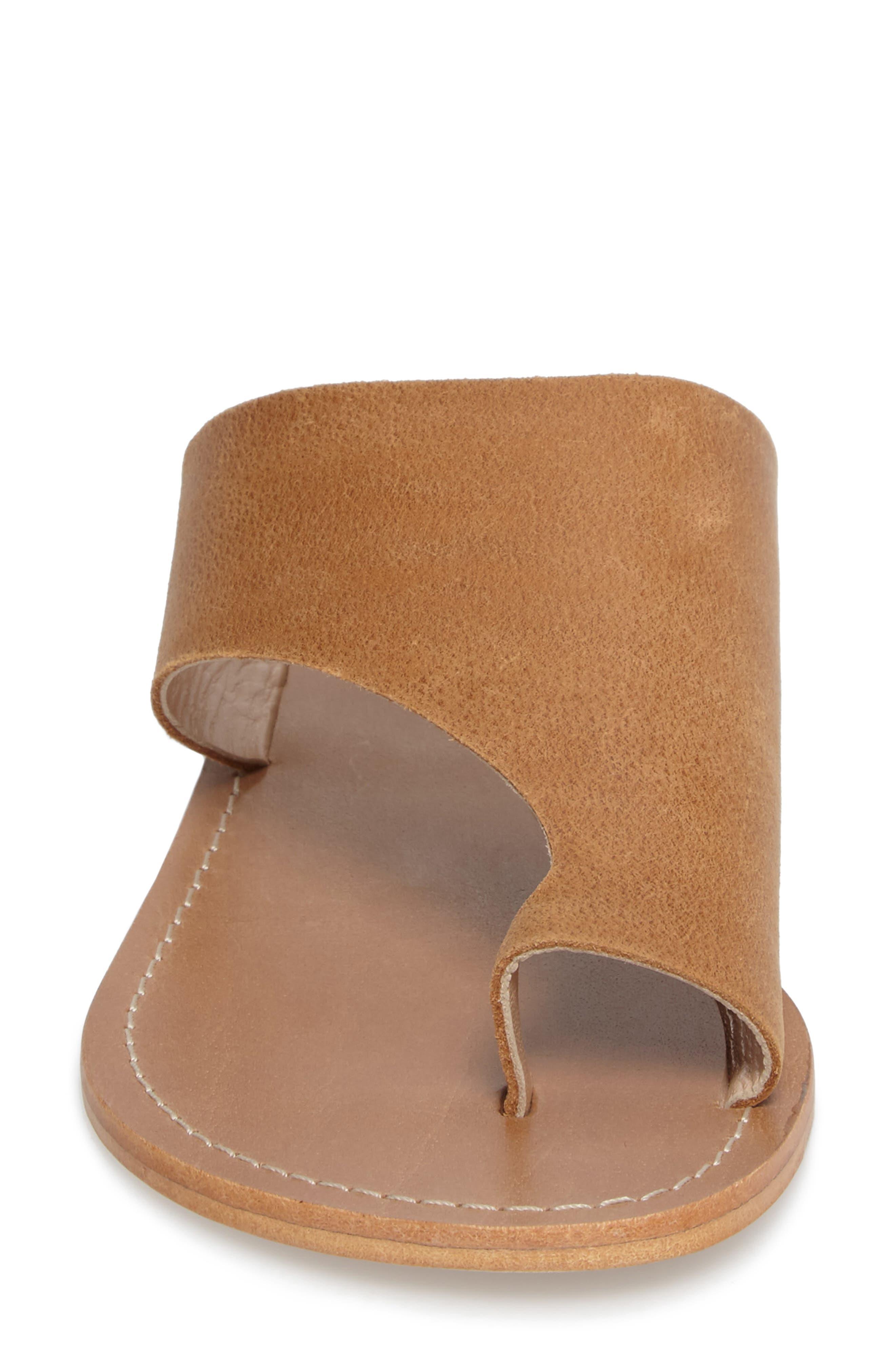 Fleet Slide Sandal,                             Alternate thumbnail 4, color,                             Tan Leather
