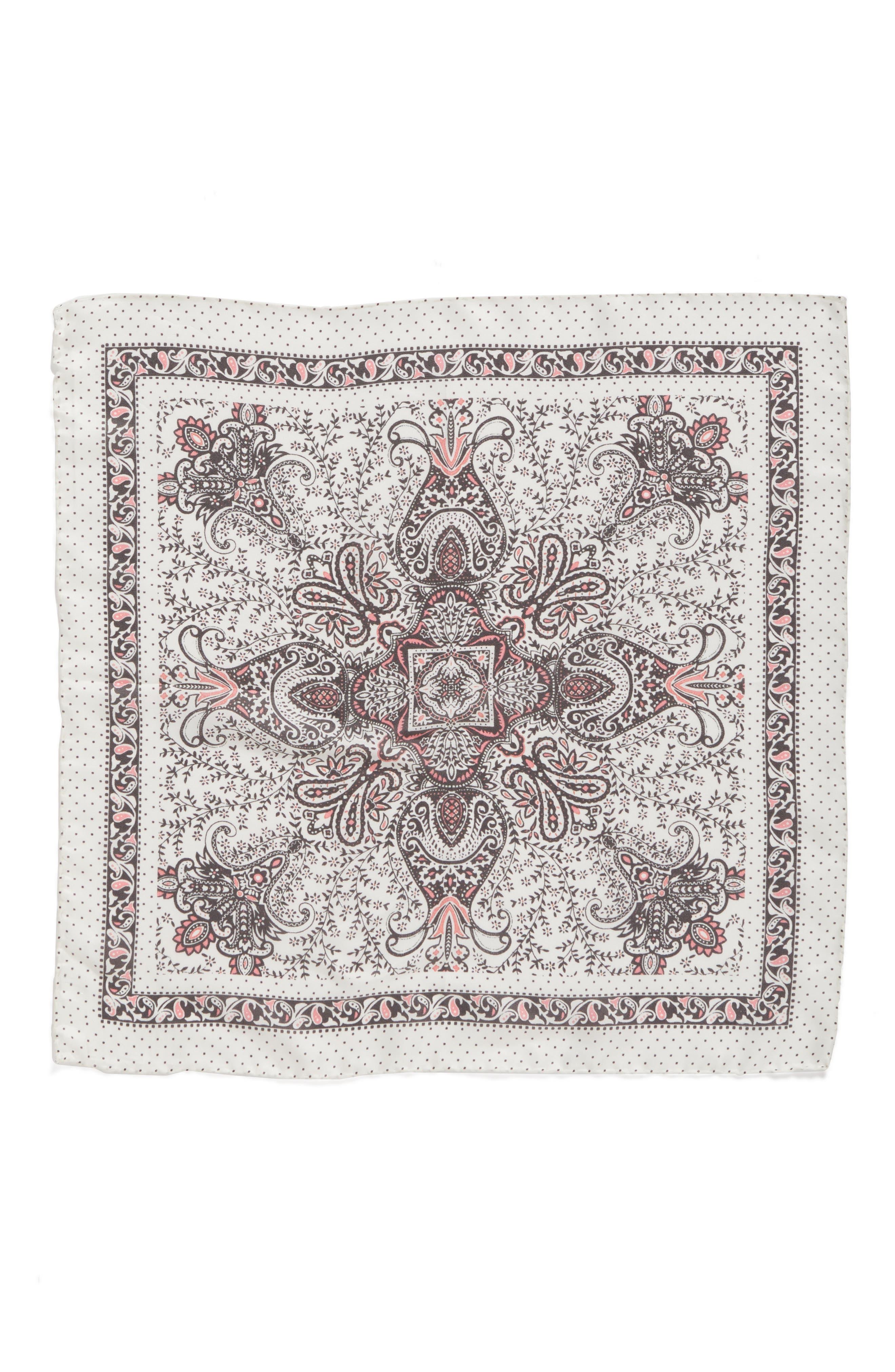 Handkerchief Paisley Silk Scarf,                             Alternate thumbnail 2, color,                             Pale Nude