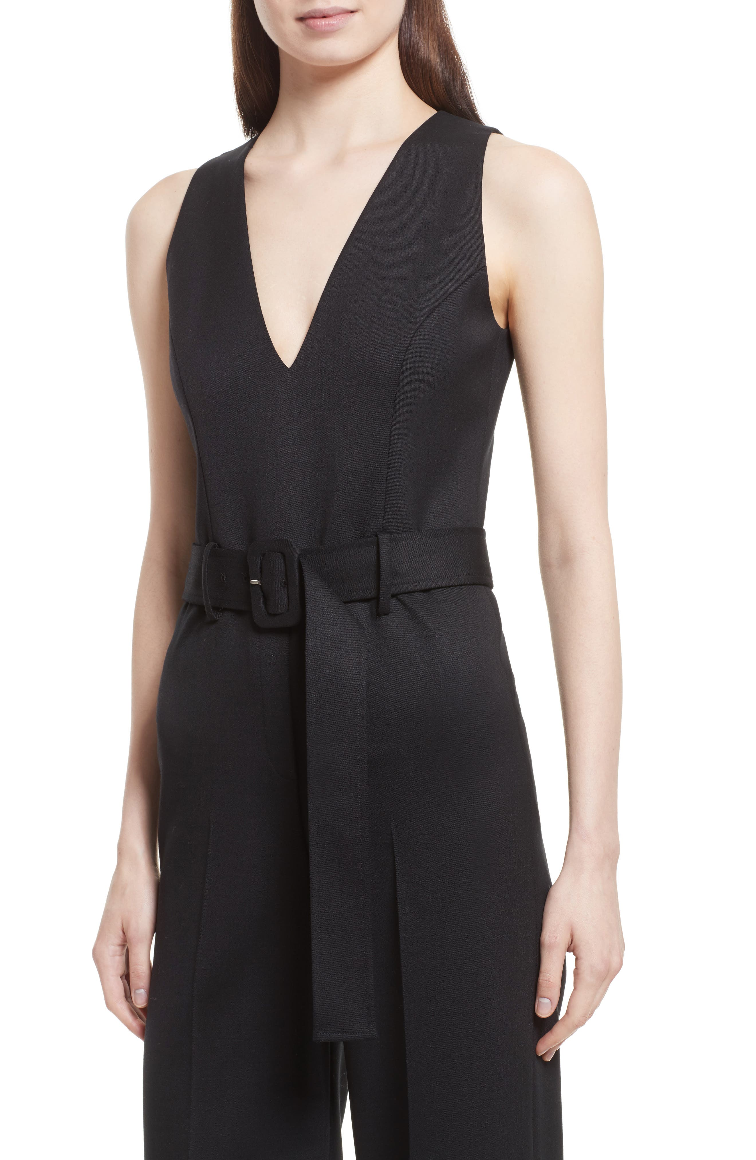 Tuxedo Wool Belted Jumpsuit,                             Alternate thumbnail 4, color,                             Black