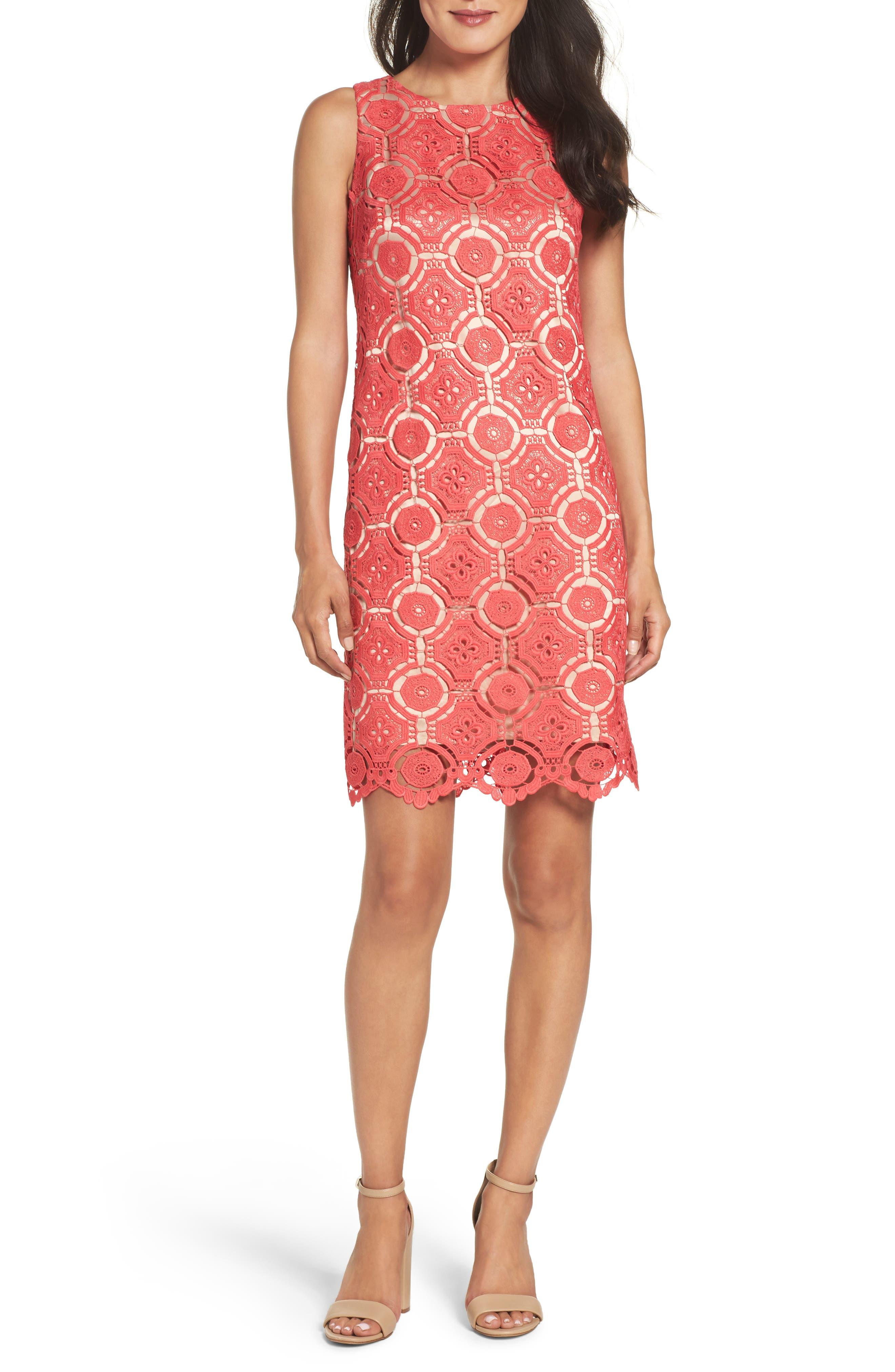 Lace Shift Dress,                         Main,                         color, Poppy
