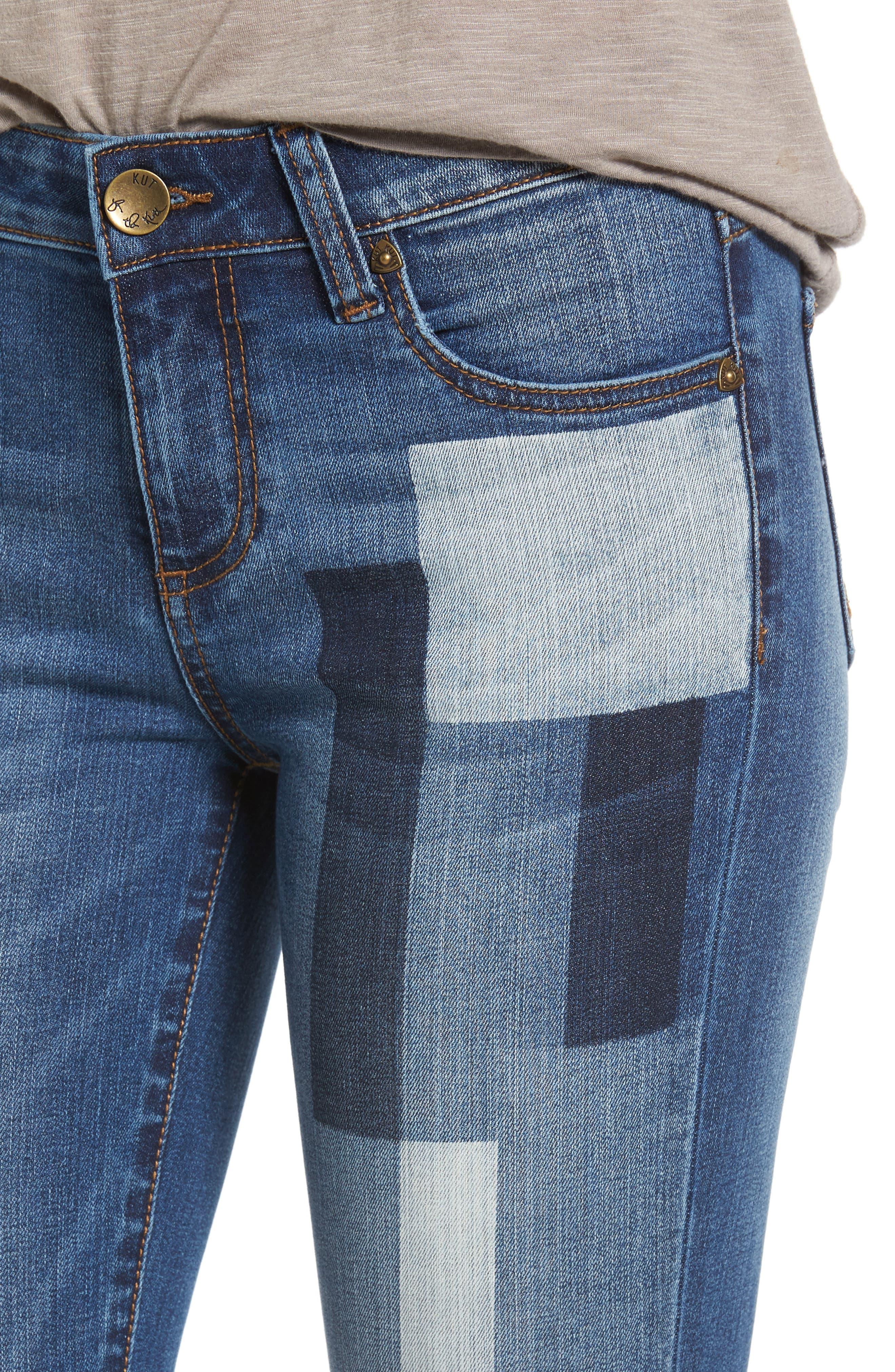 Patchwork Fade Skinny Jeans,                             Alternate thumbnail 4, color,                             Coequal / Dark Stone