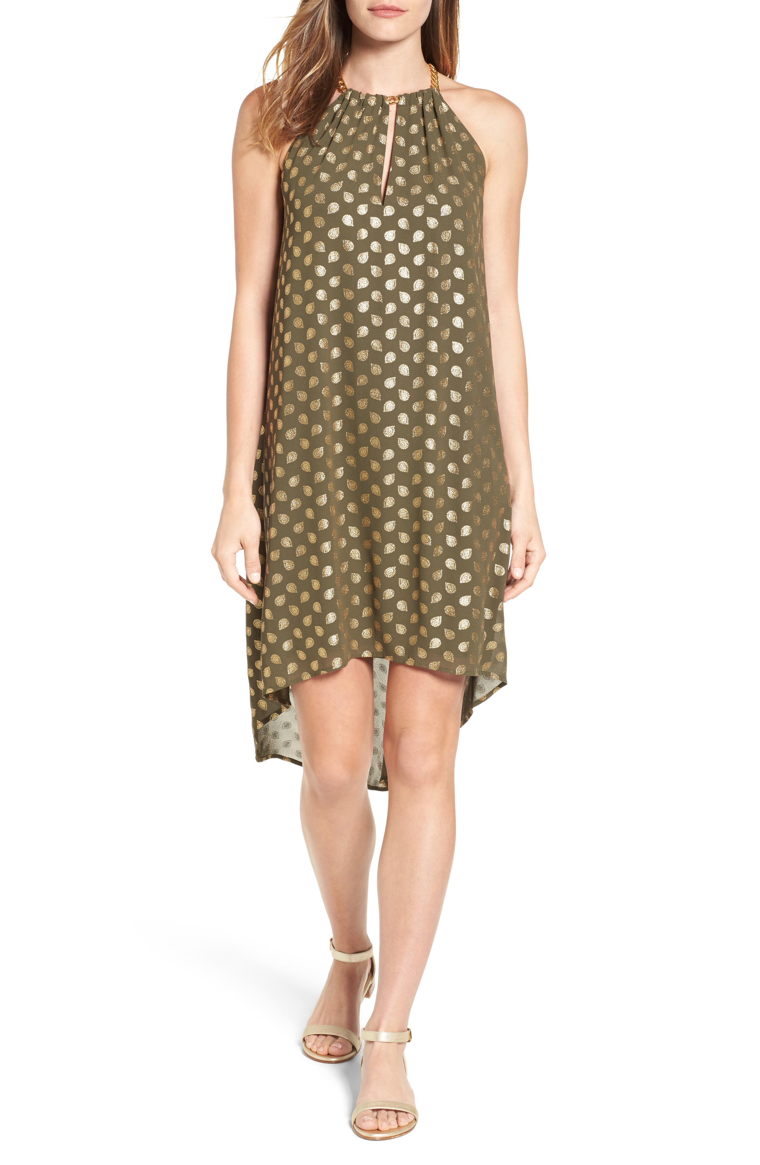 MICHAEL Michael Kors Bergalia Chain Neck Foiled Trapeze Dress (Regular & Petite)