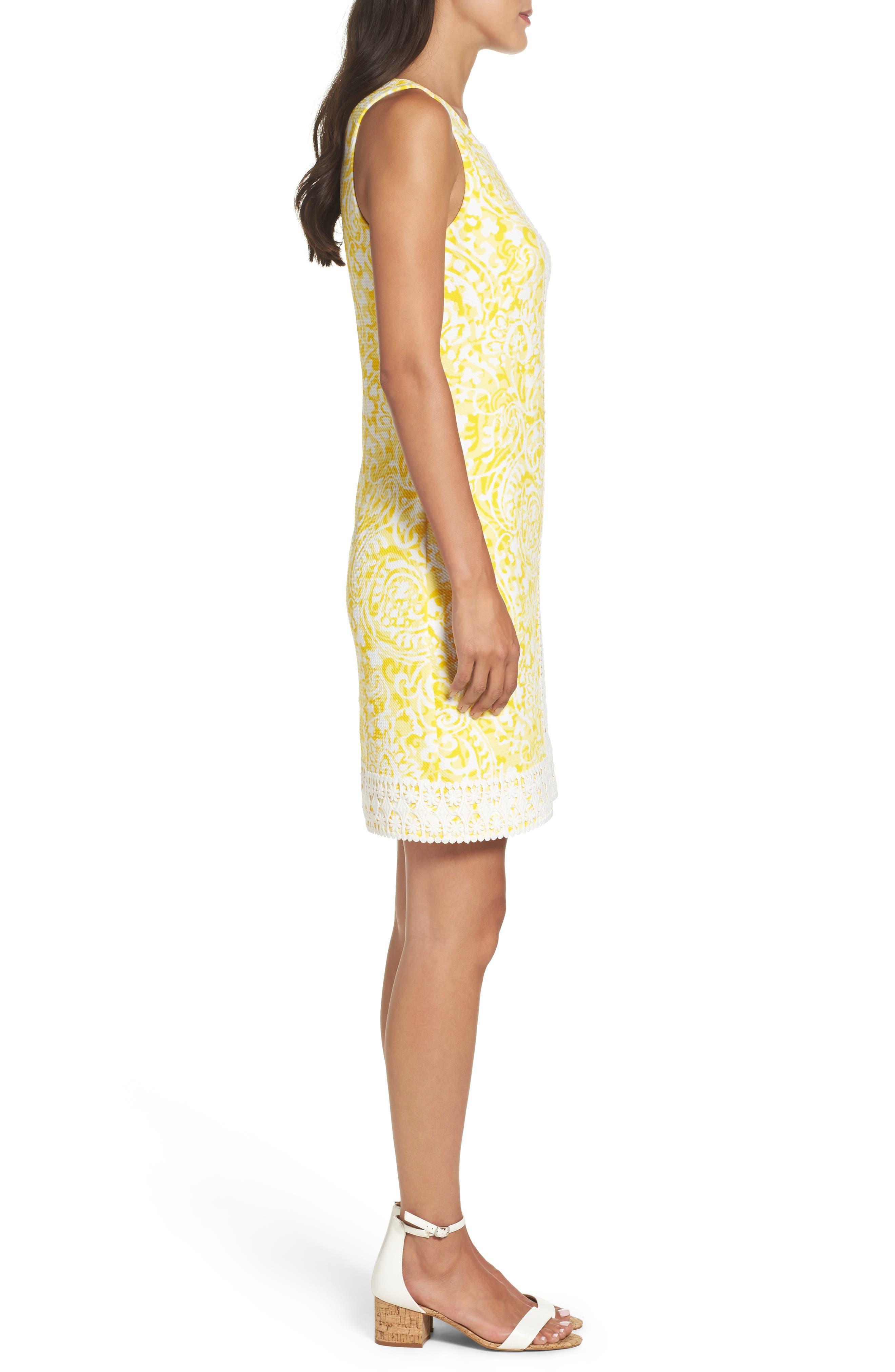 Print Shift Dress,                             Alternate thumbnail 3, color,                             Yellow