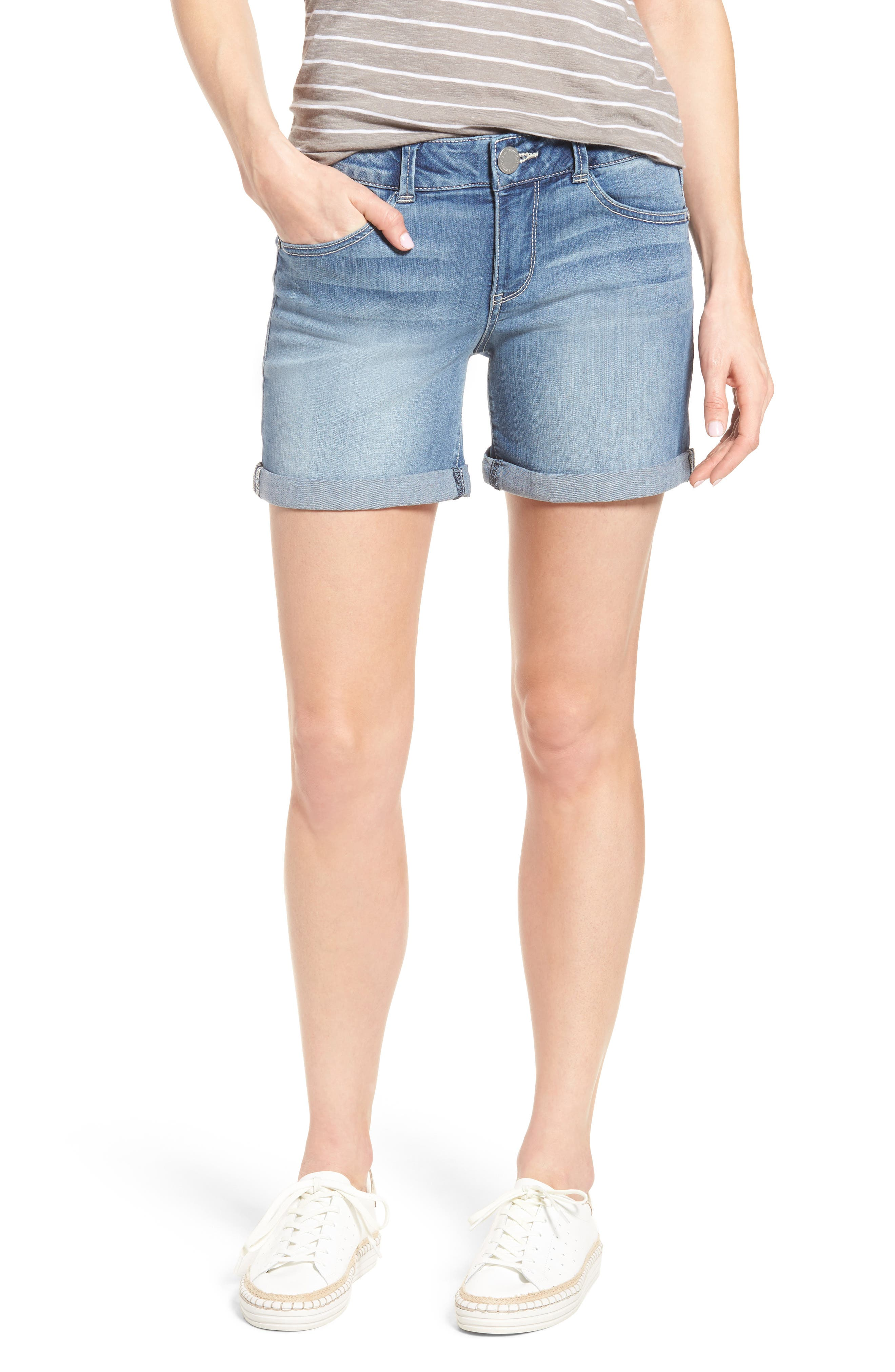 Ab-solution Cuffed Denim Shorts,                         Main,                         color, Light Blue