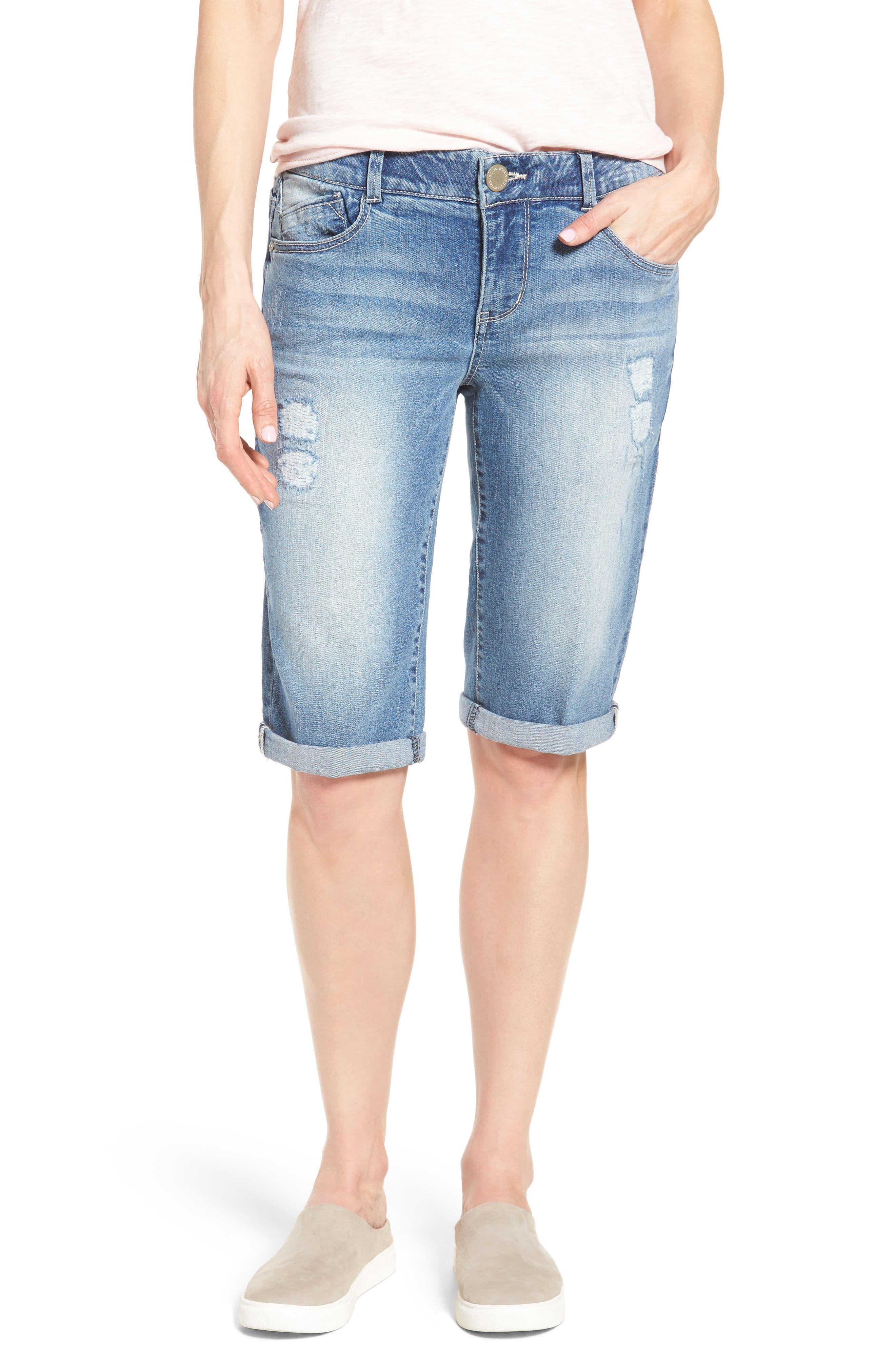Ab-solution Ripped Denim Bermuda Shorts,                         Main,                         color, Light Blue