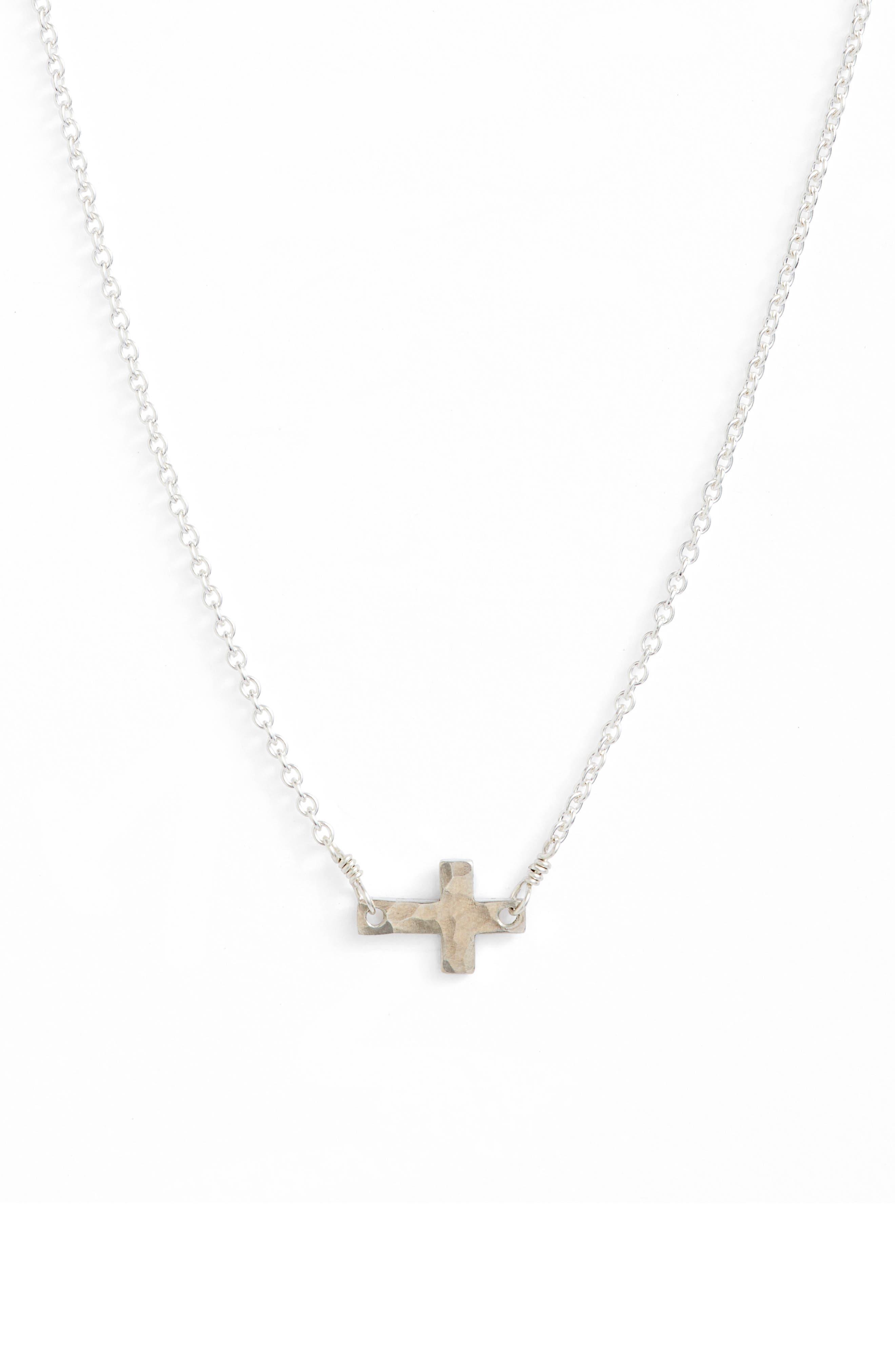 Main Image - Nashelle Side Cross Pendant Necklace