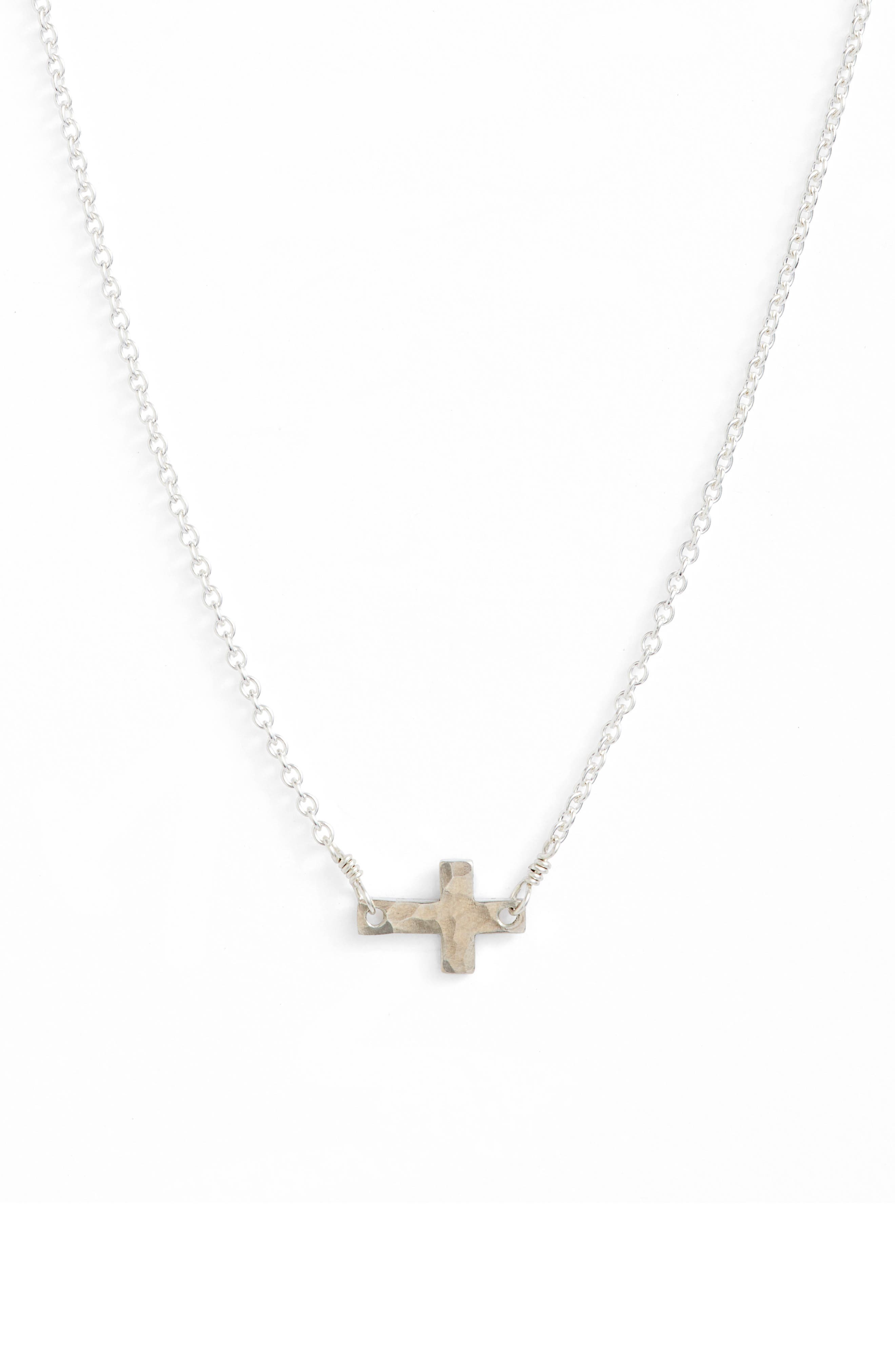 Side Cross Pendant Necklace,                         Main,                         color, Silver