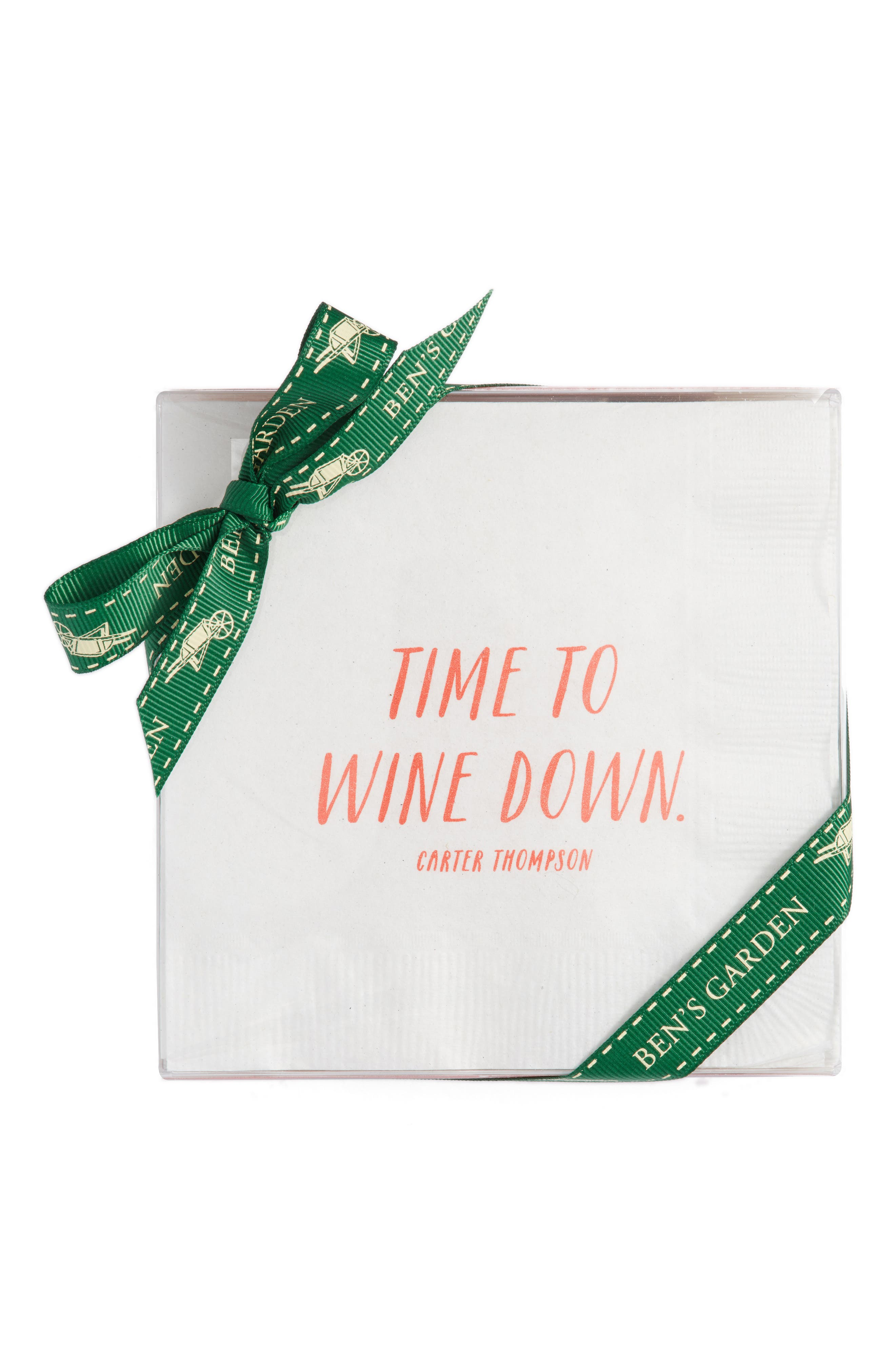 Time to Wine Down Cocktail Napkins,                         Main,                         color, White