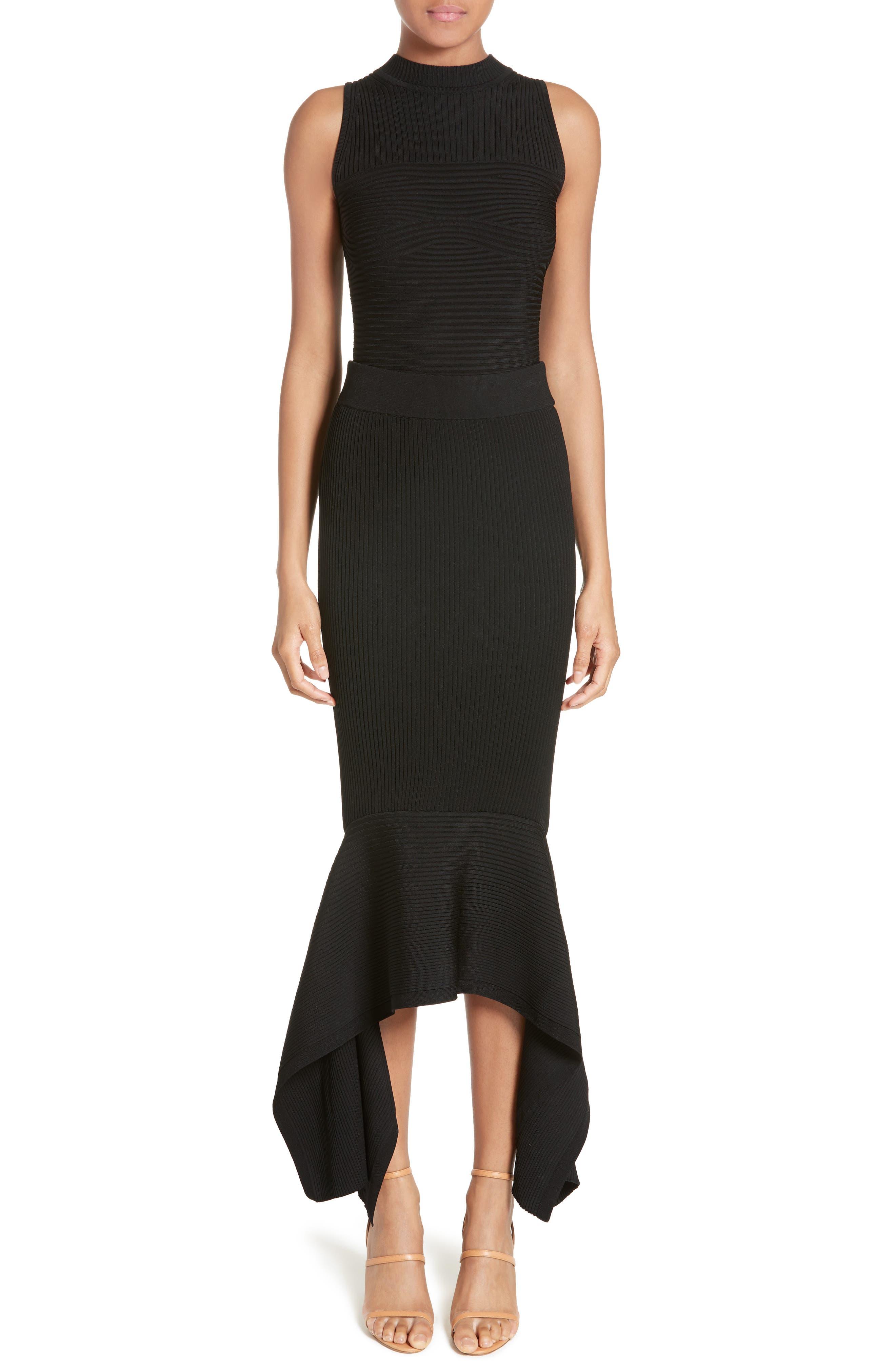 Rib Knit Ruffle Hem Midi Skirt,                             Alternate thumbnail 6, color,                             Black