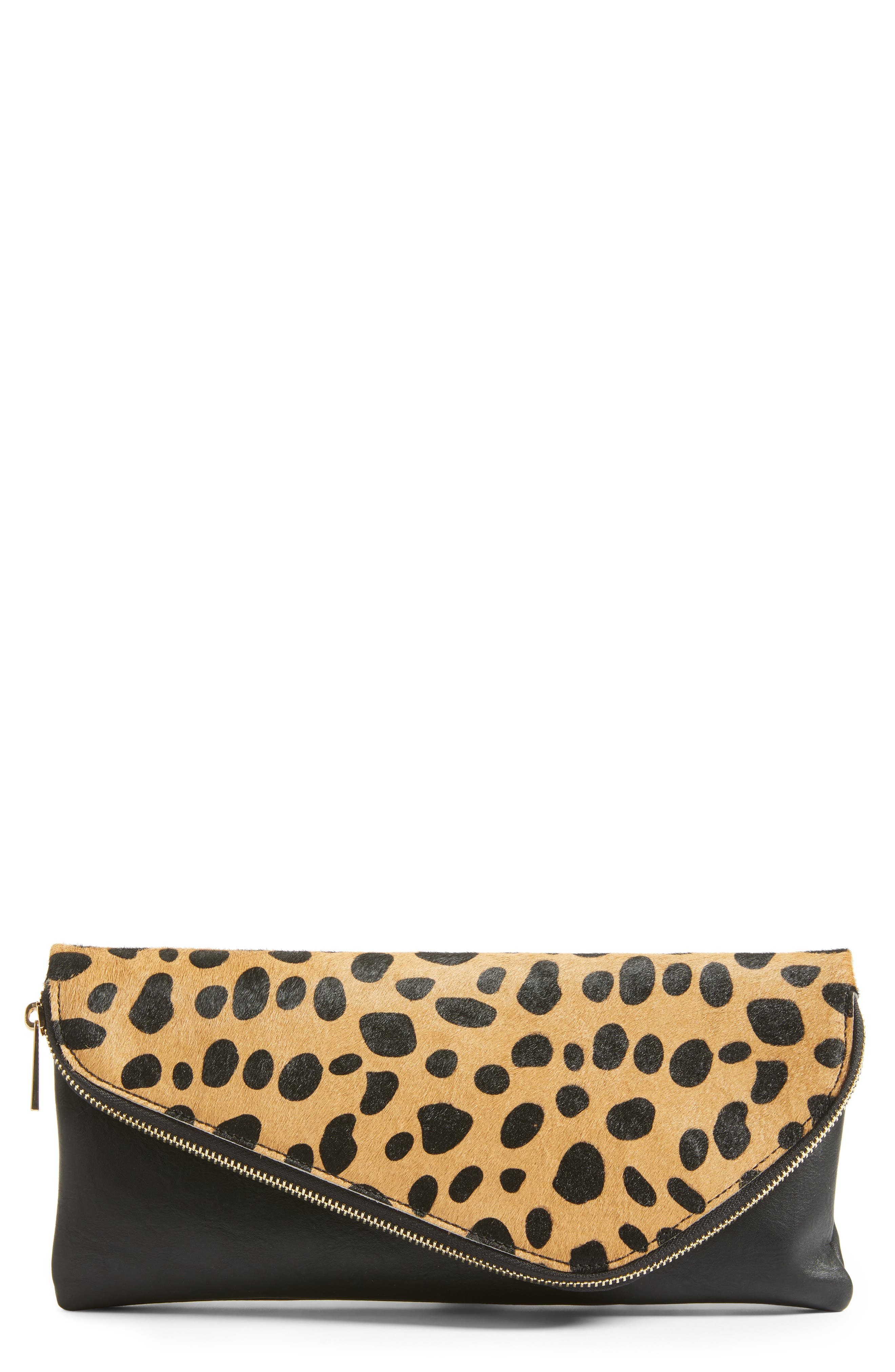 Main Image - Sole Society Tamika Genuine Calf Hair & Faux Leather Foldover Clutch