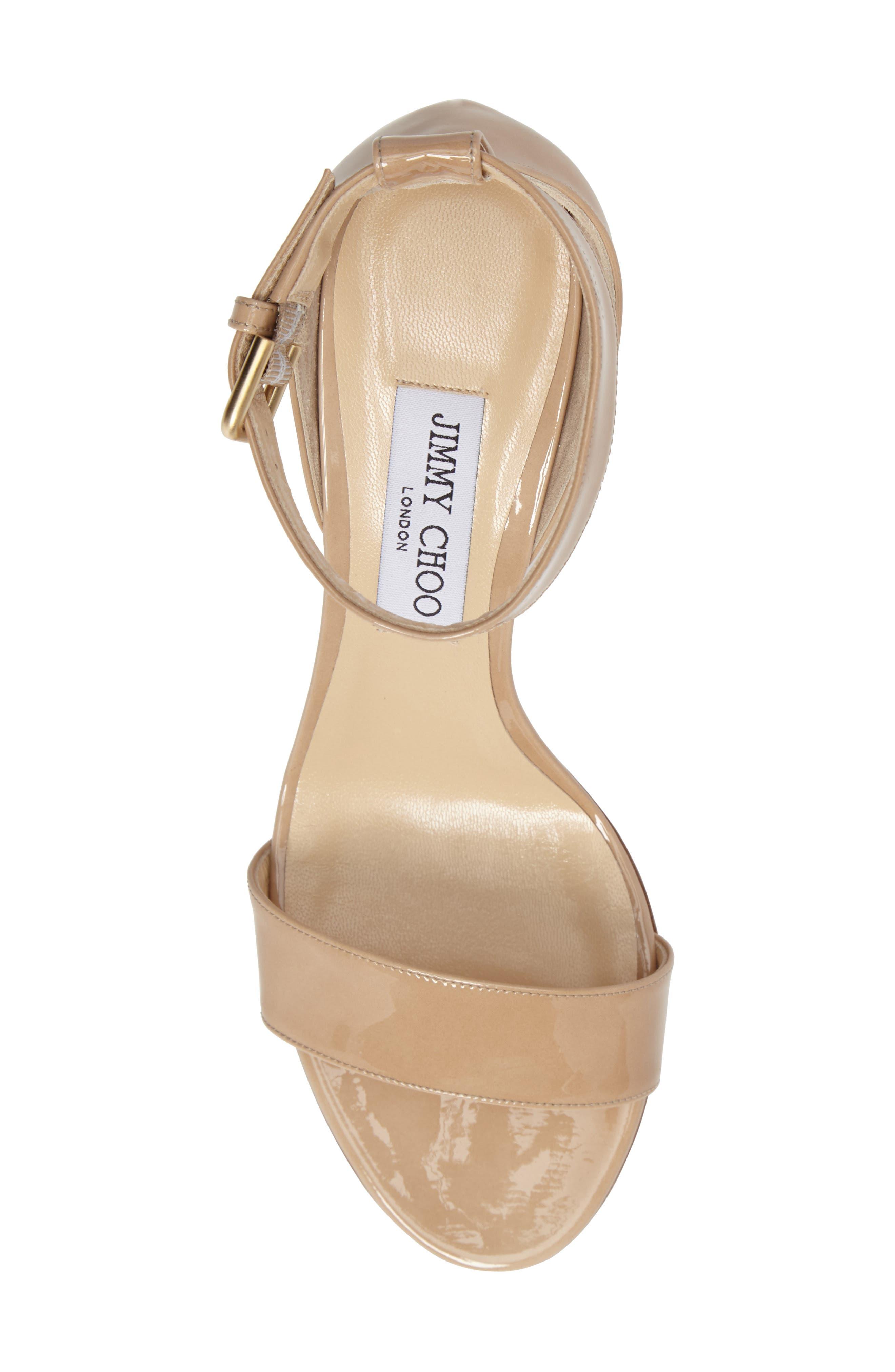 Edina Ankle Strap Sandal,                             Alternate thumbnail 5, color,                             Nude Patent