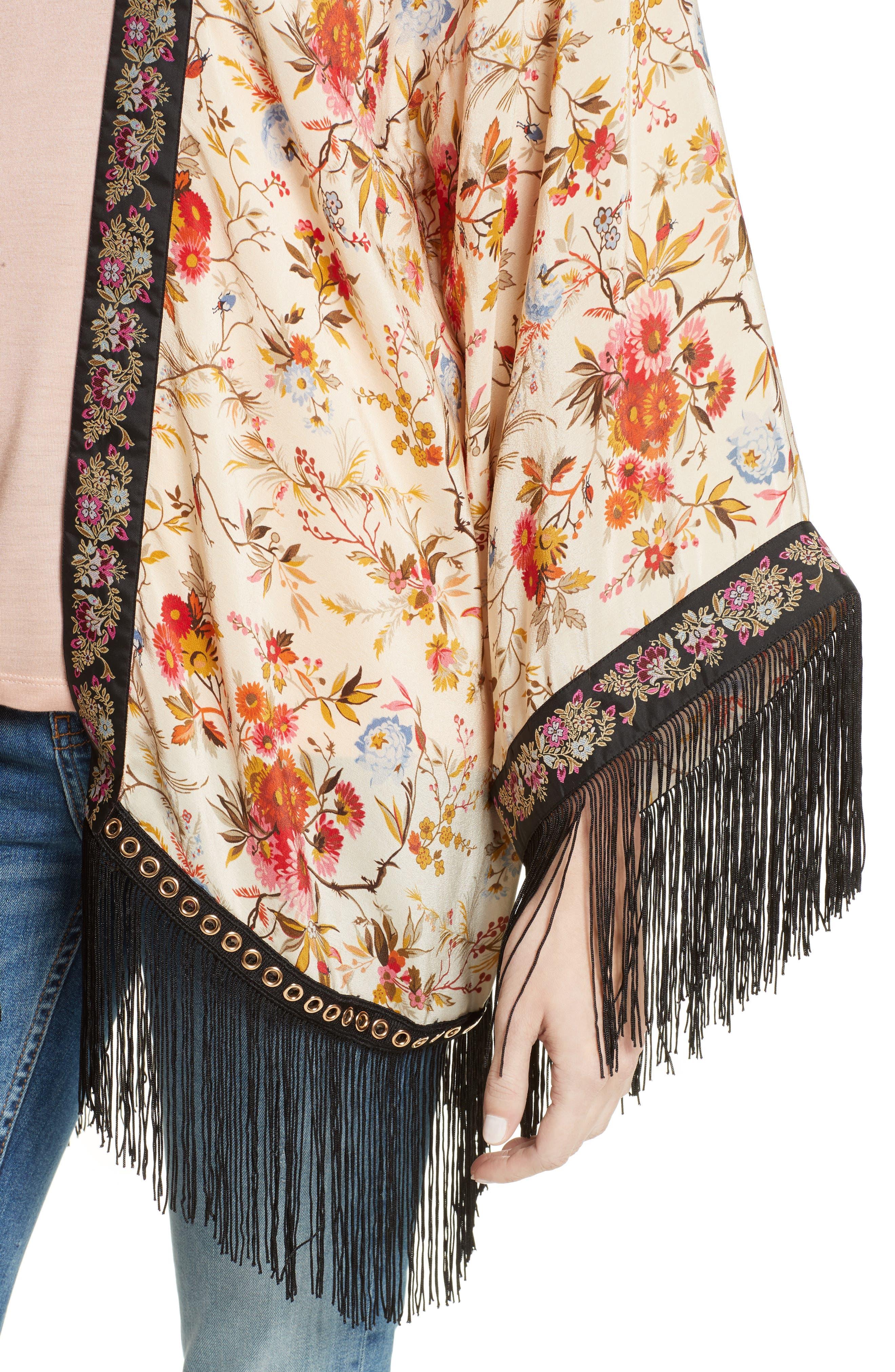 Alternate Image 4  - The Kooples Fleurs D'Artifice Floral Print Fringe Kimono