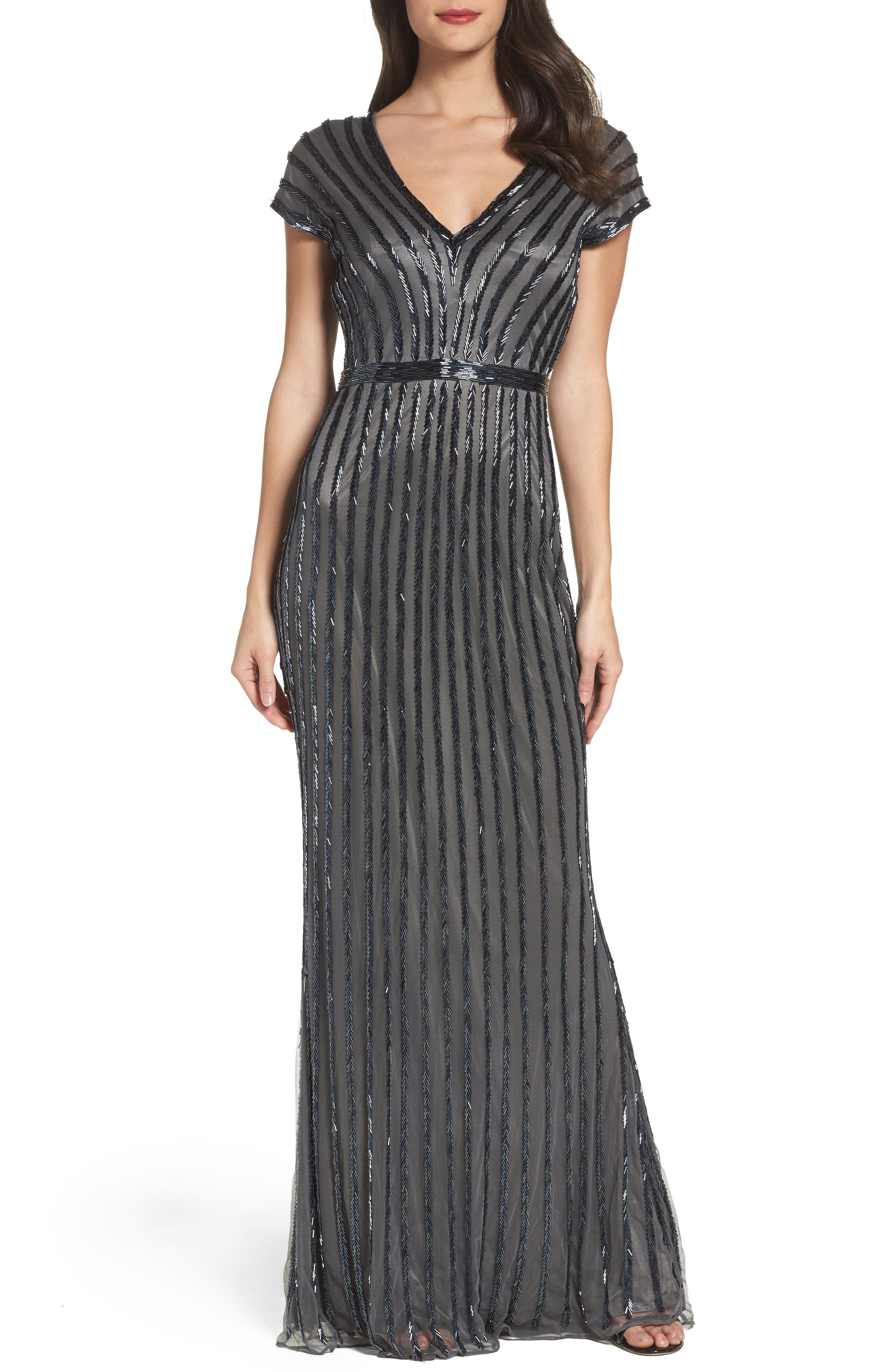 Beaded Mesh Gown,                         Main,                         color, Charcoal