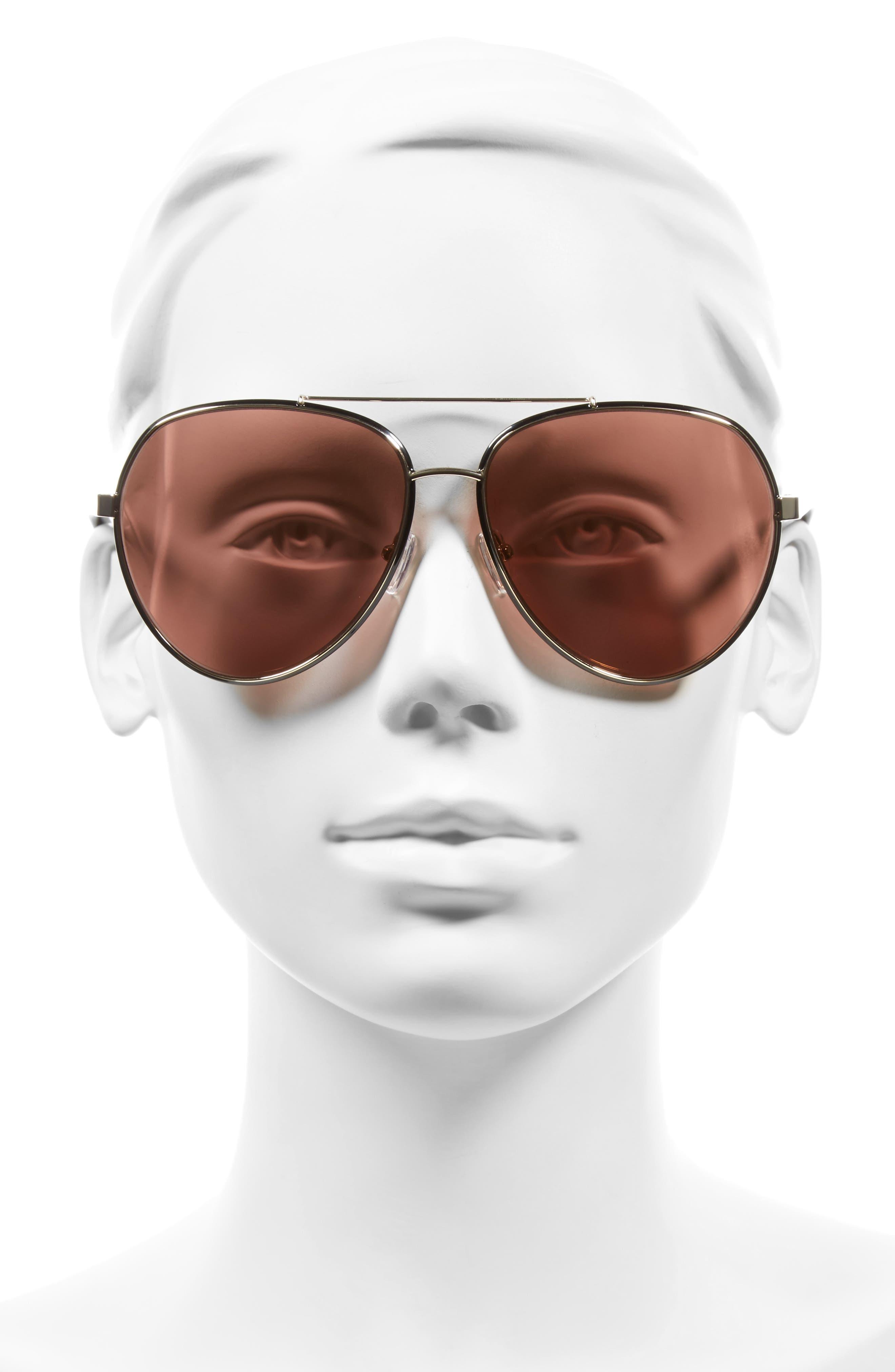 61mm Aviator Sunglasses,                             Alternate thumbnail 2, color,                             Shiny Gold/ Shiny Black