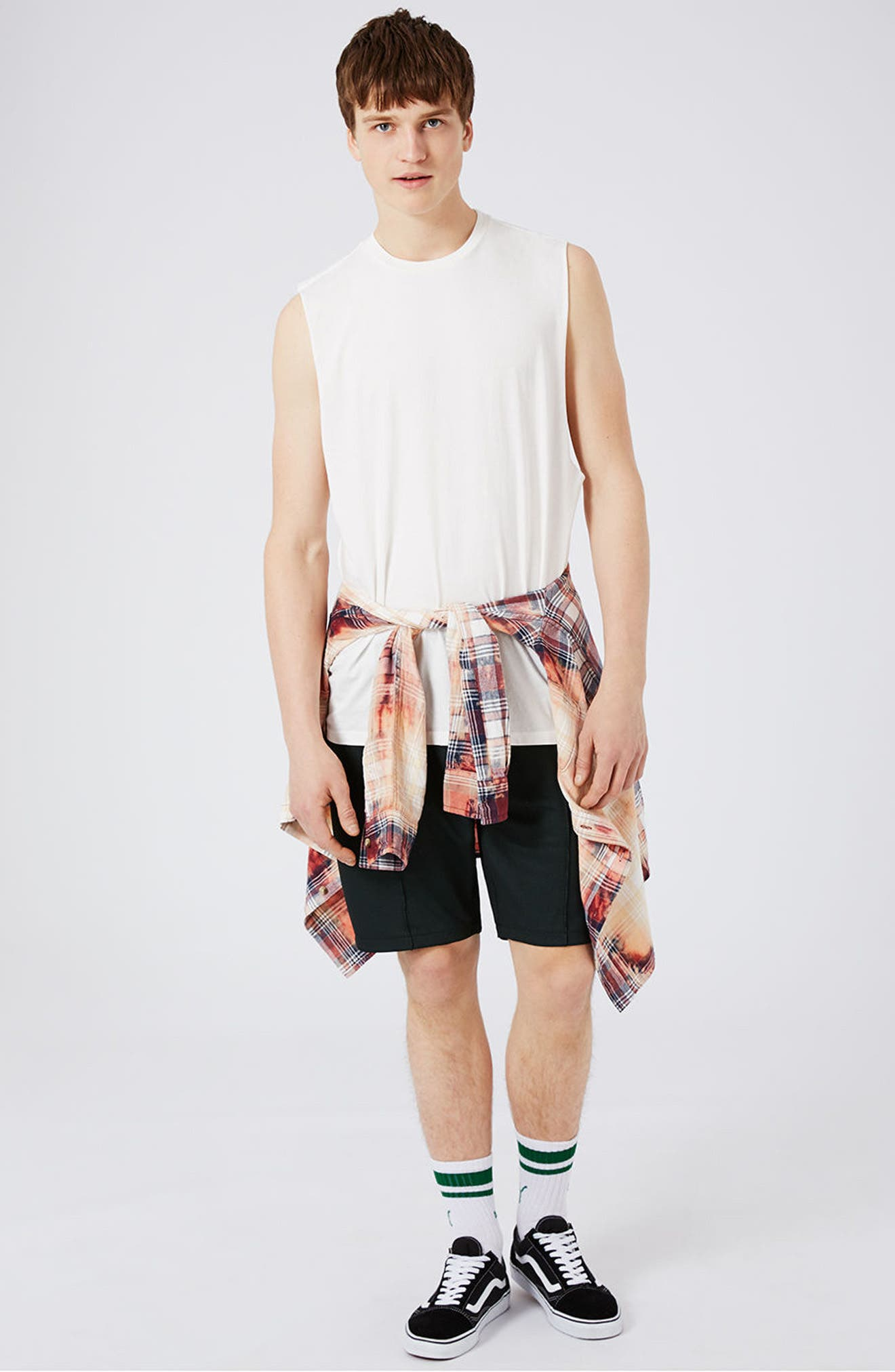 Alternate Image 2  - Topman Two Tone Mesh Jersey Shorts
