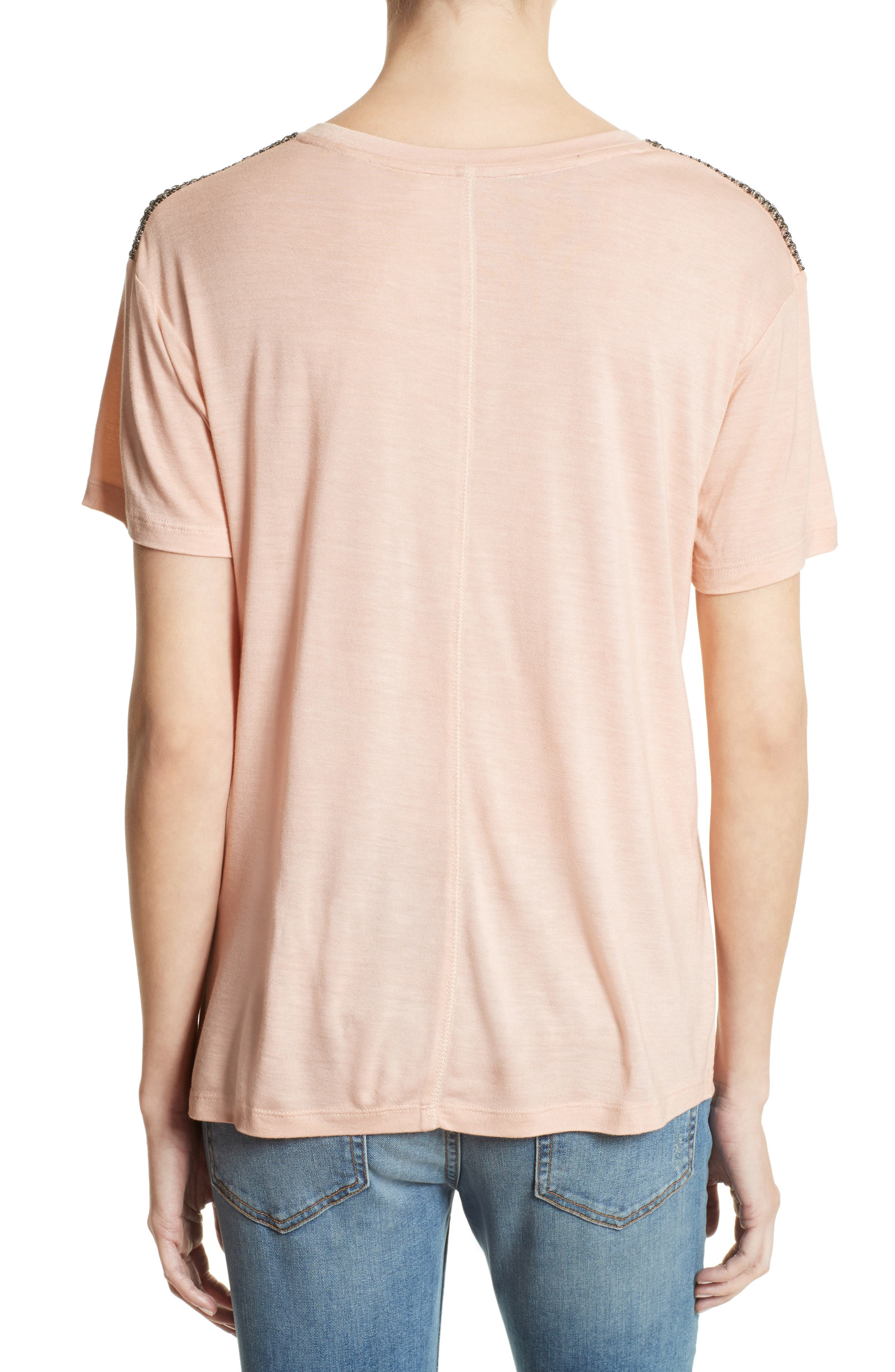 Beaded Tee,                             Alternate thumbnail 2, color,                             Pink