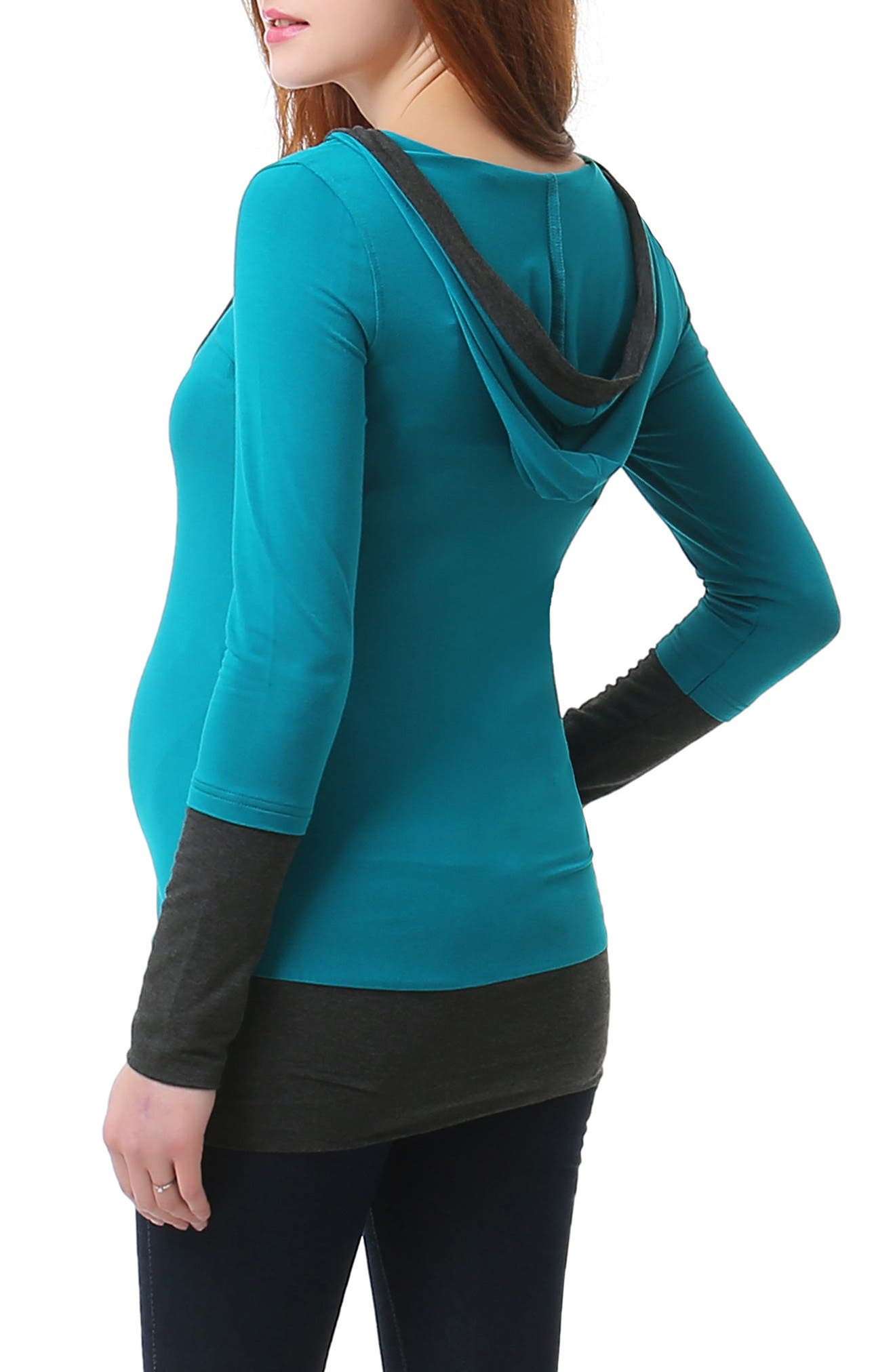 Willow Hooded Maternity Top,                             Alternate thumbnail 2, color,                             Teal