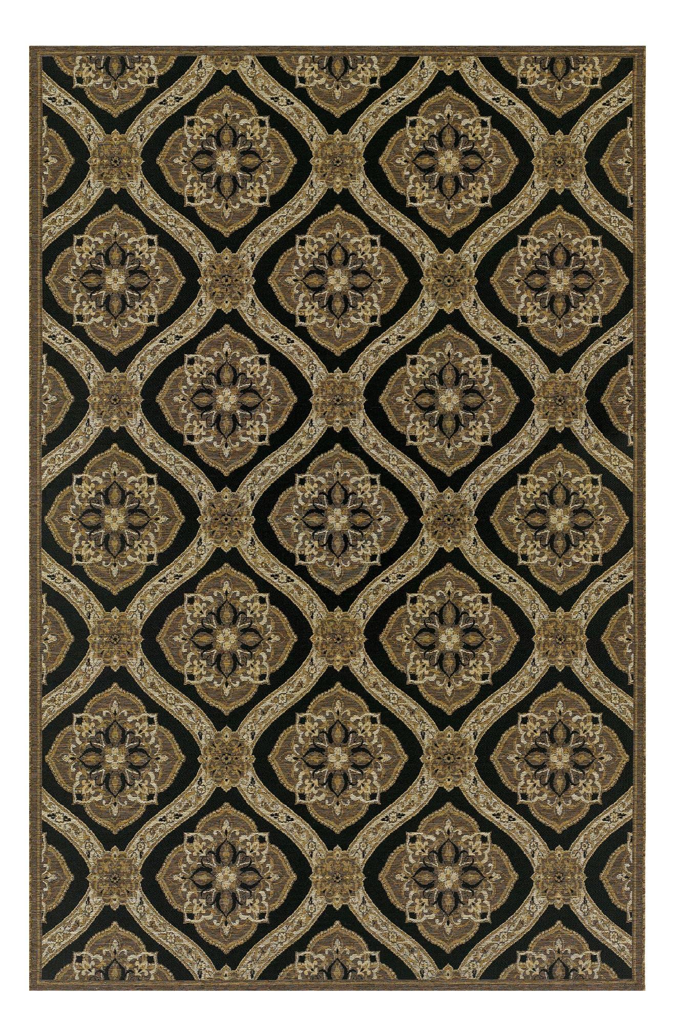 Napoli Indoor/Outdoor Rug,                             Main thumbnail 1, color,                             Black/ Gold