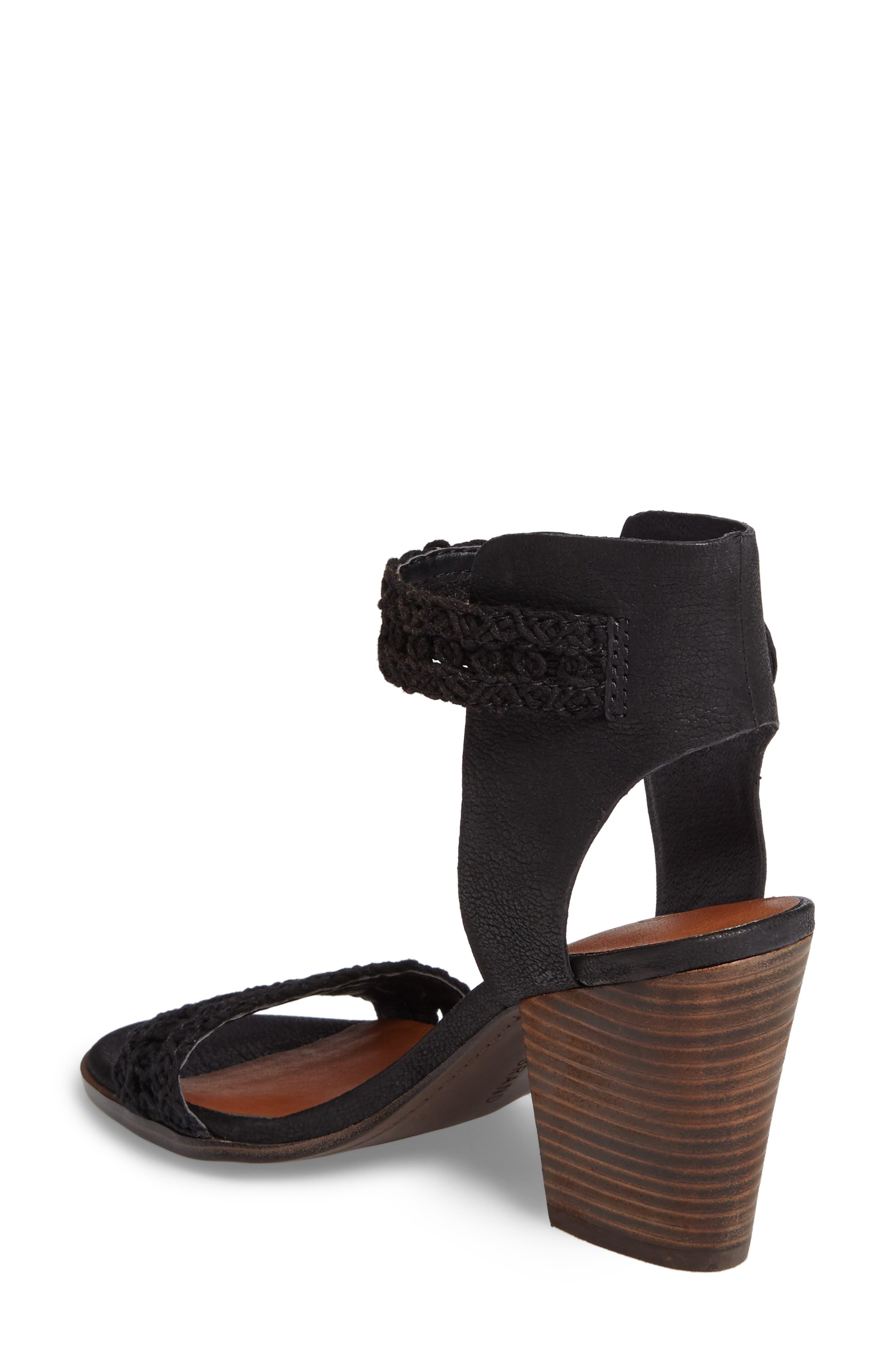 Oakes Ankle Strap Sandal,                             Alternate thumbnail 2, color,                             Black Leather