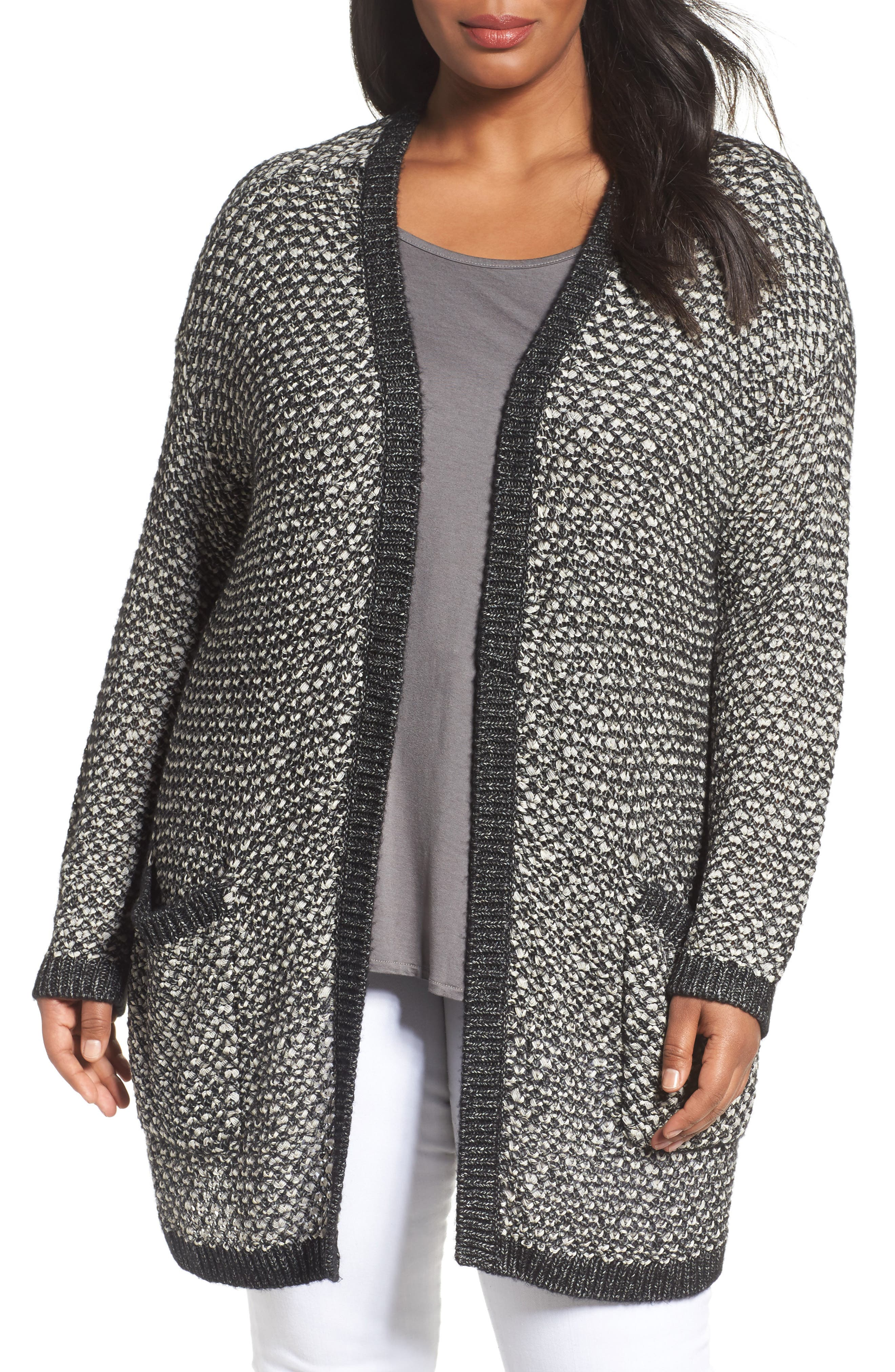 Caslon Textured Open Front Cardigan (Plus Size)
