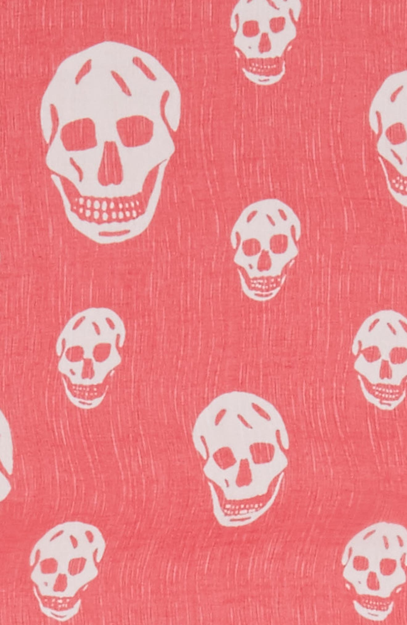 'Skull' Chiffon Scarf,                             Alternate thumbnail 3, color,                             Coral/ Beige