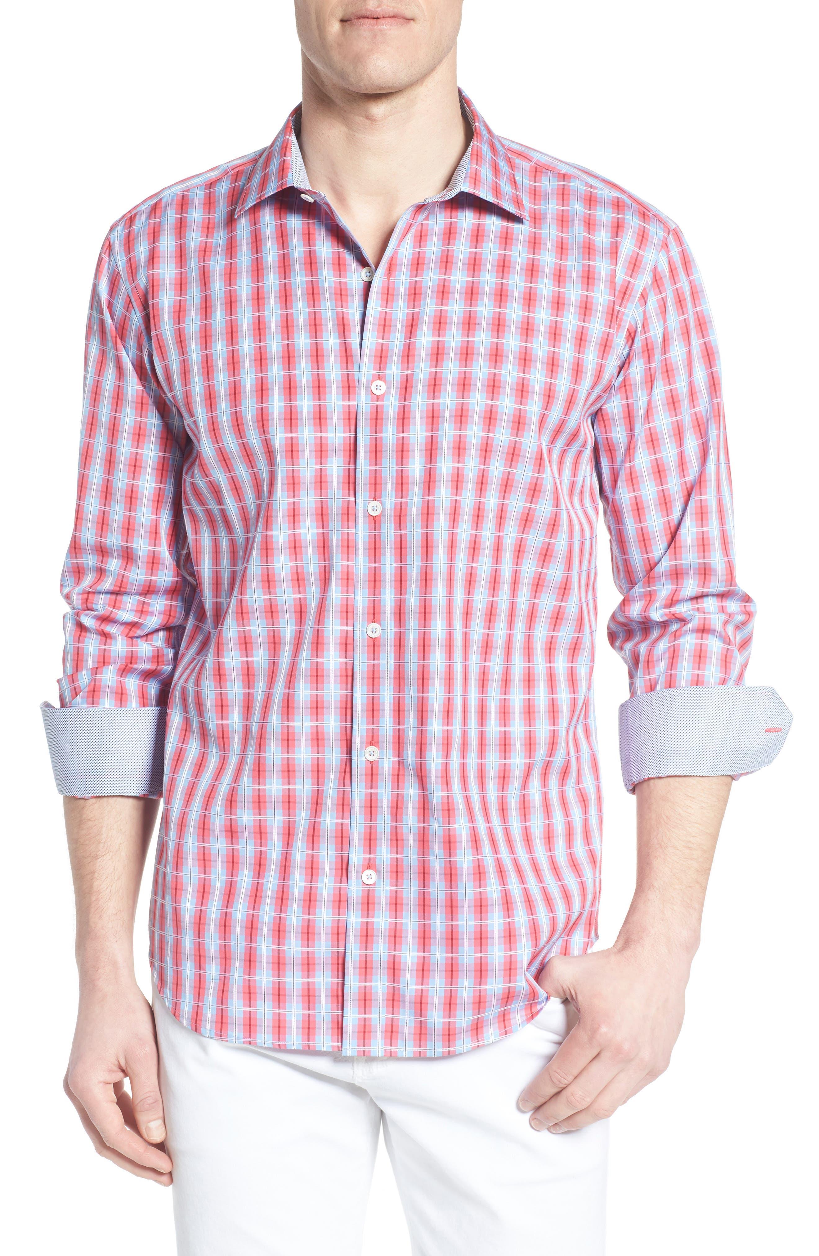 Shaped Fit Plaid Sport Shirt,                         Main,                         color, Fuschia