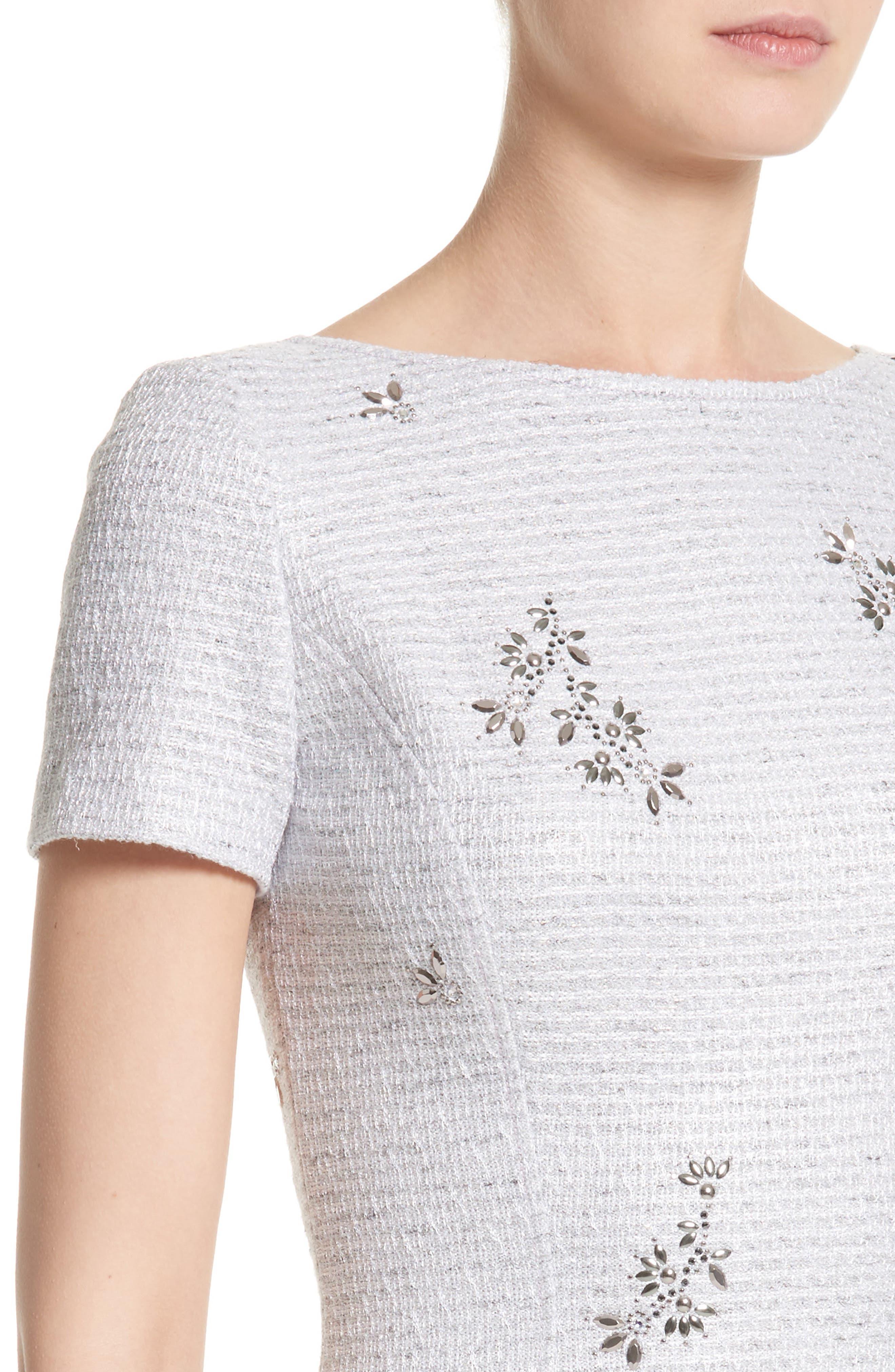 Embellished Shimmer Knit Dress,                             Alternate thumbnail 4, color,                             Lavender