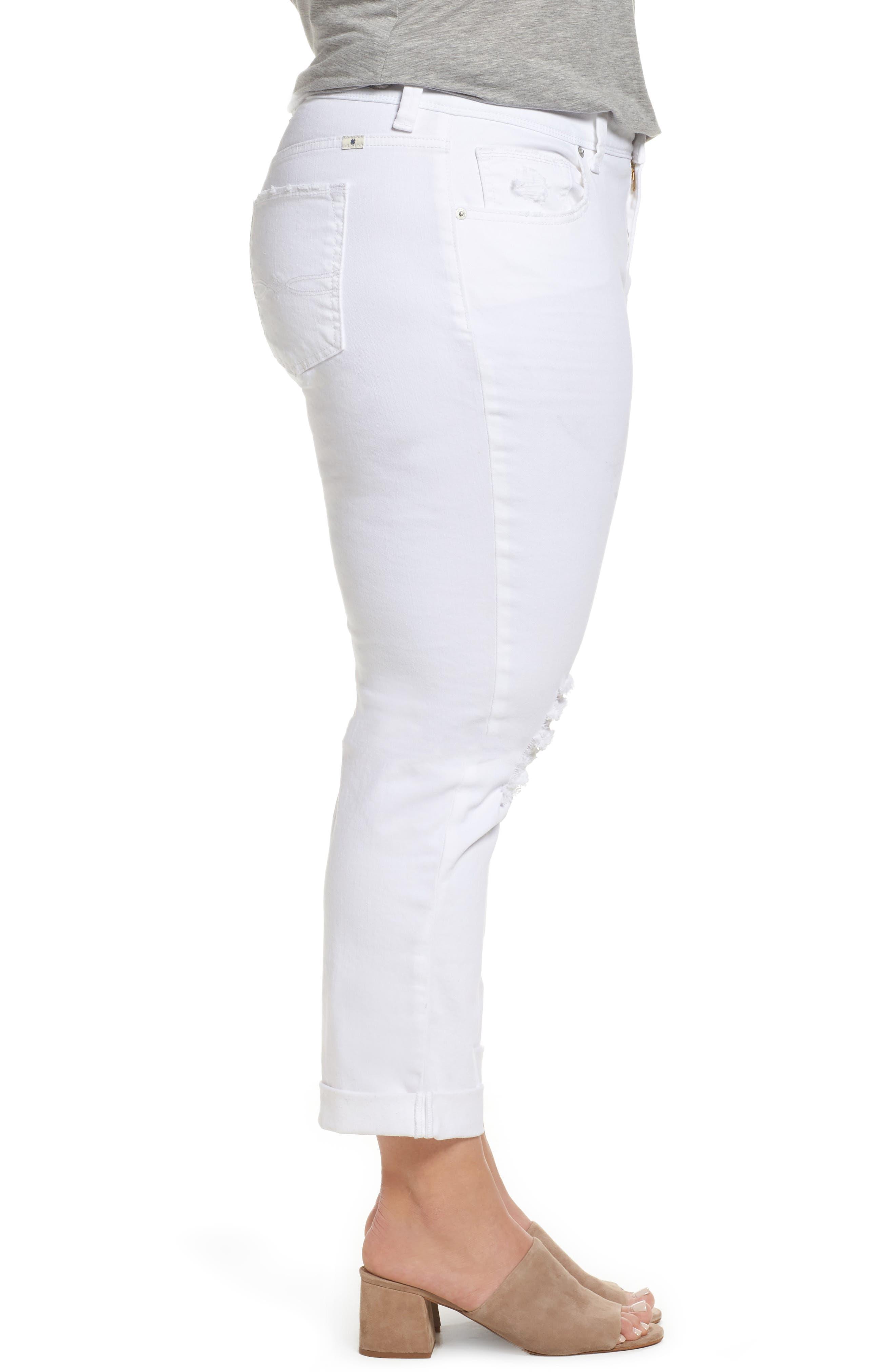 Alternate Image 3  - Lucky Brand Reese Ripped Boyfriend Jeans (Rockville) (Plus Size)
