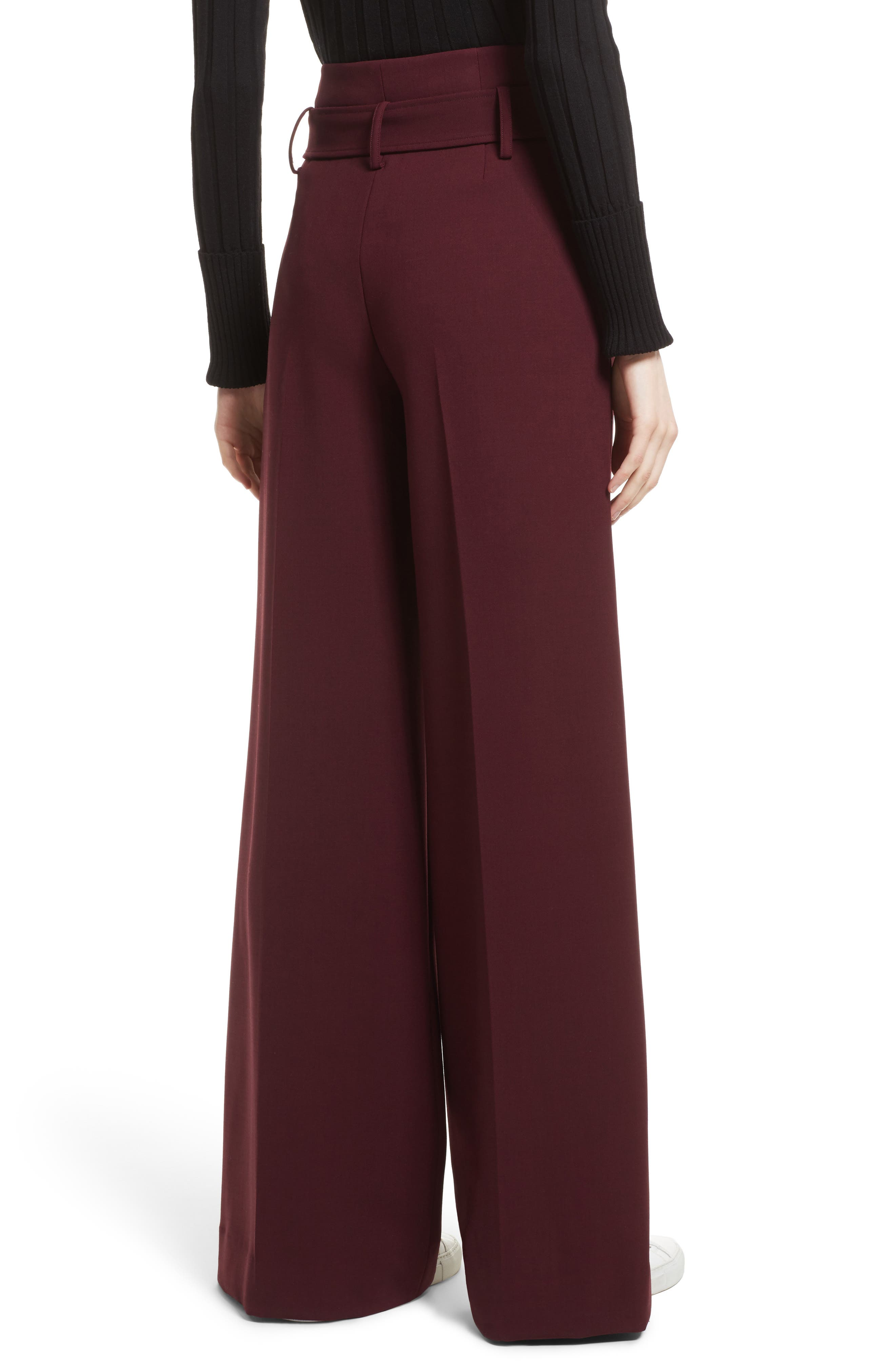 Camogie High Waist Belted Pants,                             Alternate thumbnail 2, color,                             Dark Currant