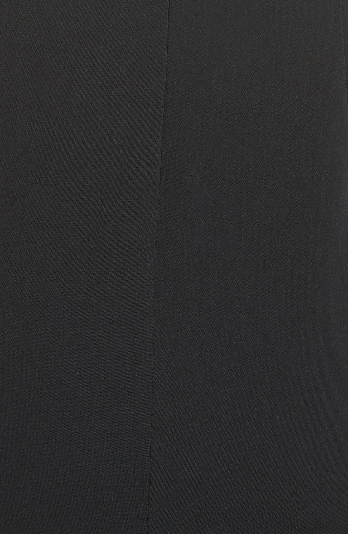 Stretch Cady Funnel Neck Dress,                             Alternate thumbnail 6, color,                             Caviar