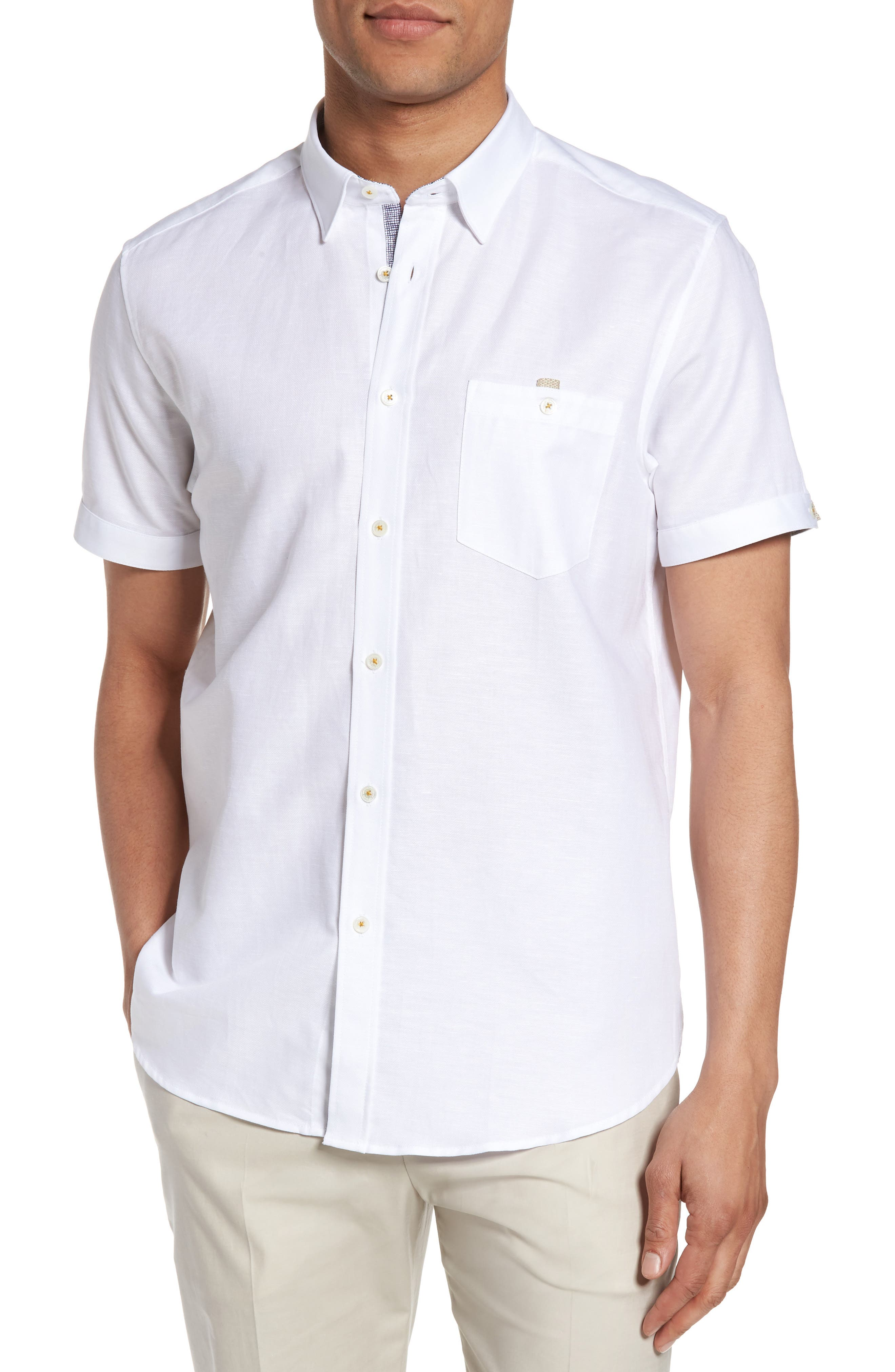 Alternate Image 1 Selected - Ted Baker London Palpin Extra Slim Fit Cotton & Linen Sport Short