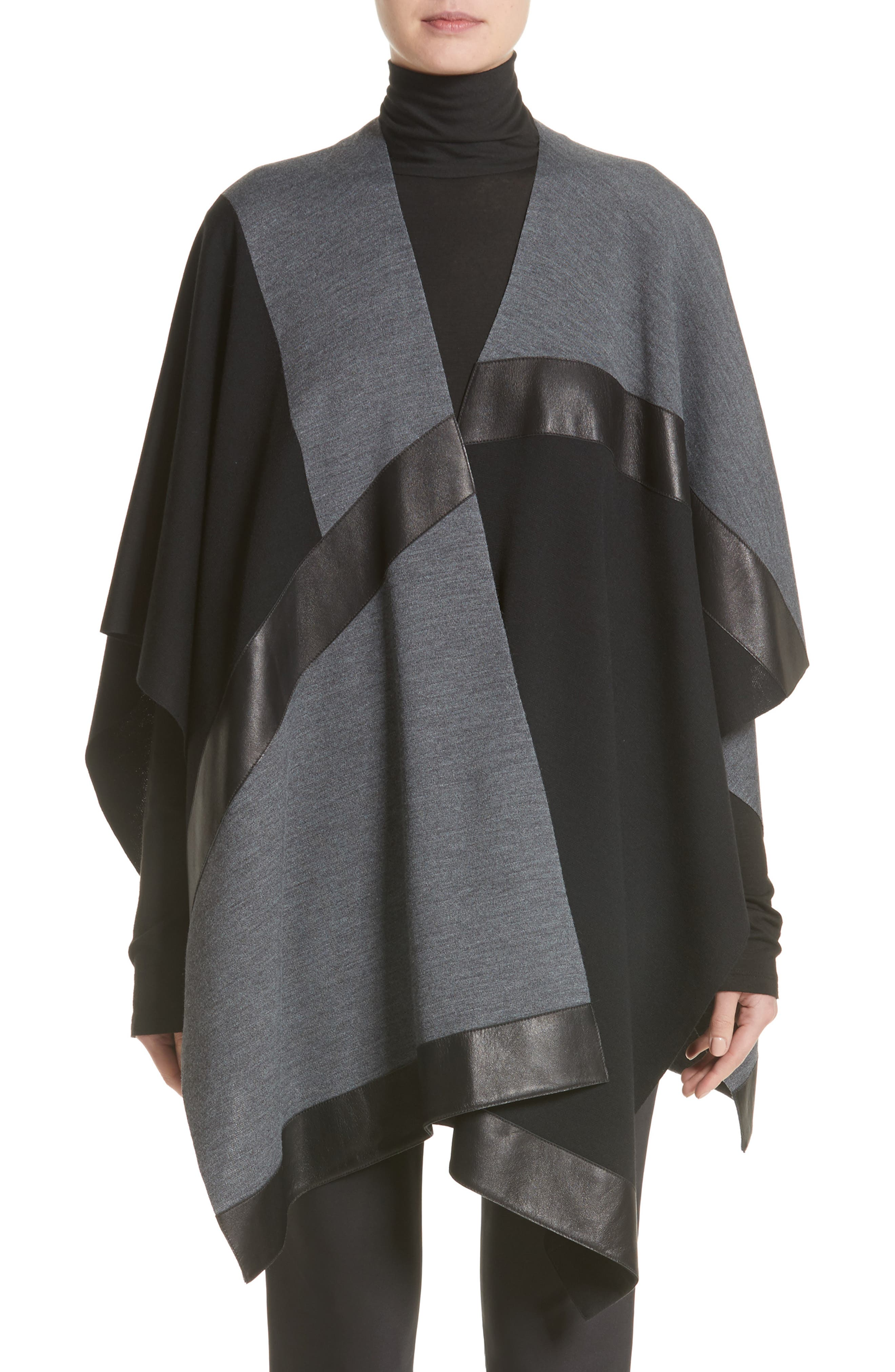St. John Collection Leather Trim Intarsia Knit Poncho
