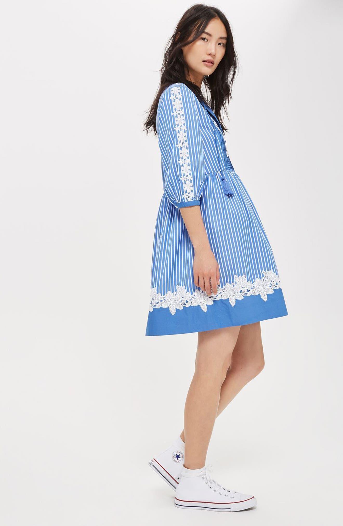 Alternate Image 2  - Topshop Embroidered Stripe Smock Dress