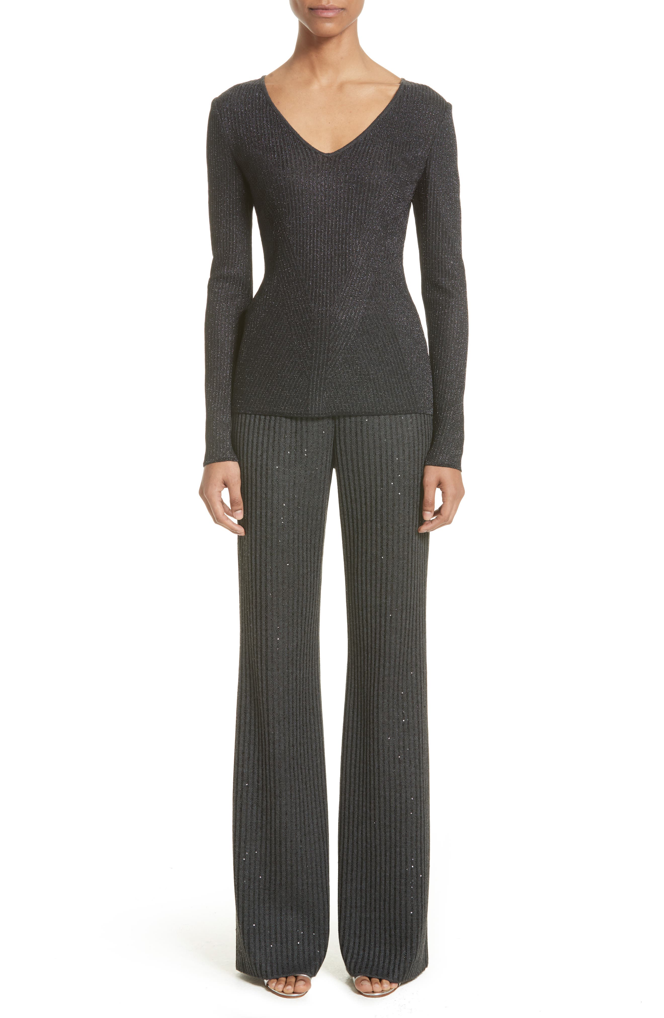 Alternate Image 7  - St. John Collection Engineered Rib Sparkle Knit Sweater
