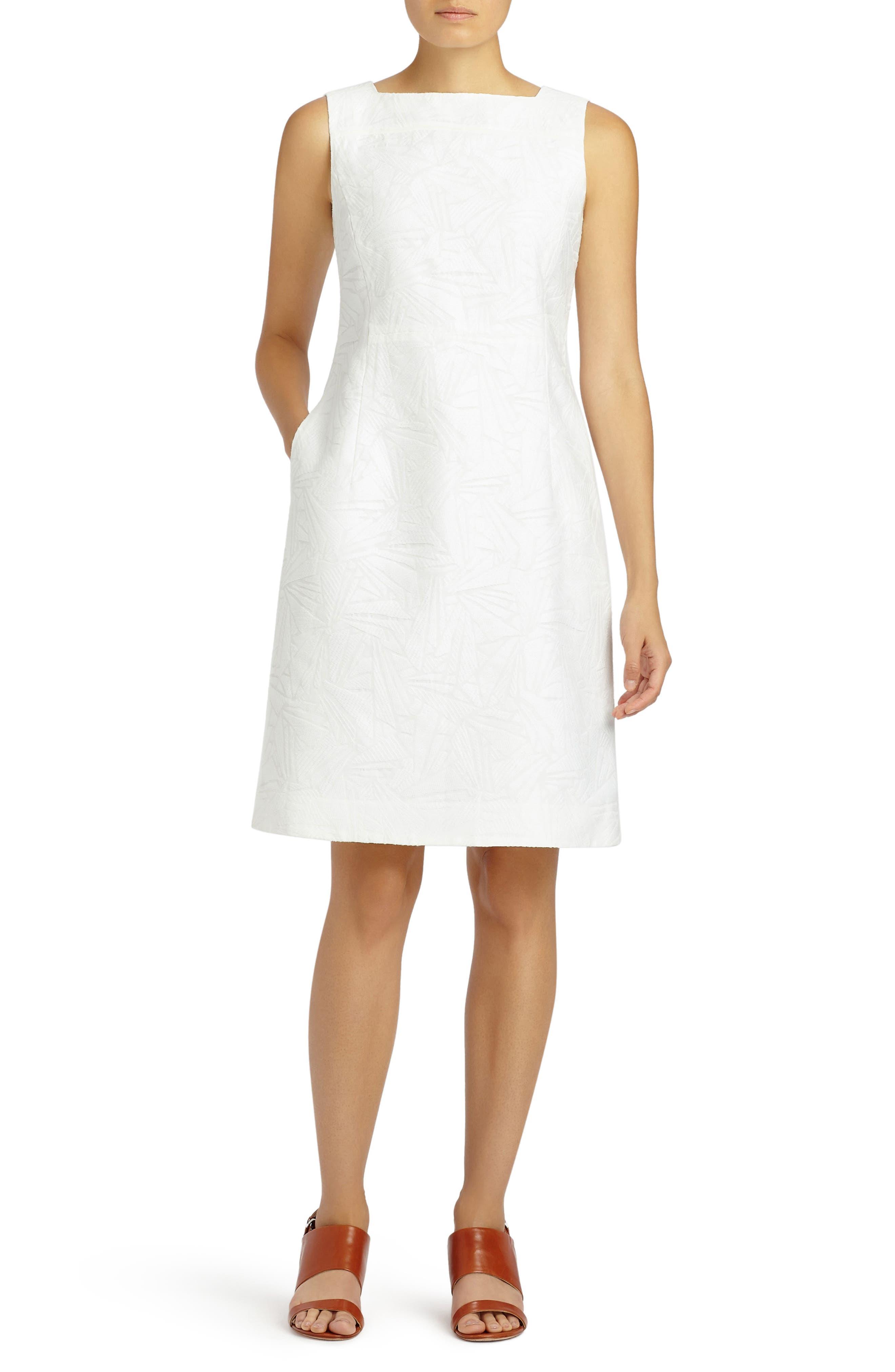 Jojo Fragmented Jacquard Dress,                             Main thumbnail 1, color,                             White