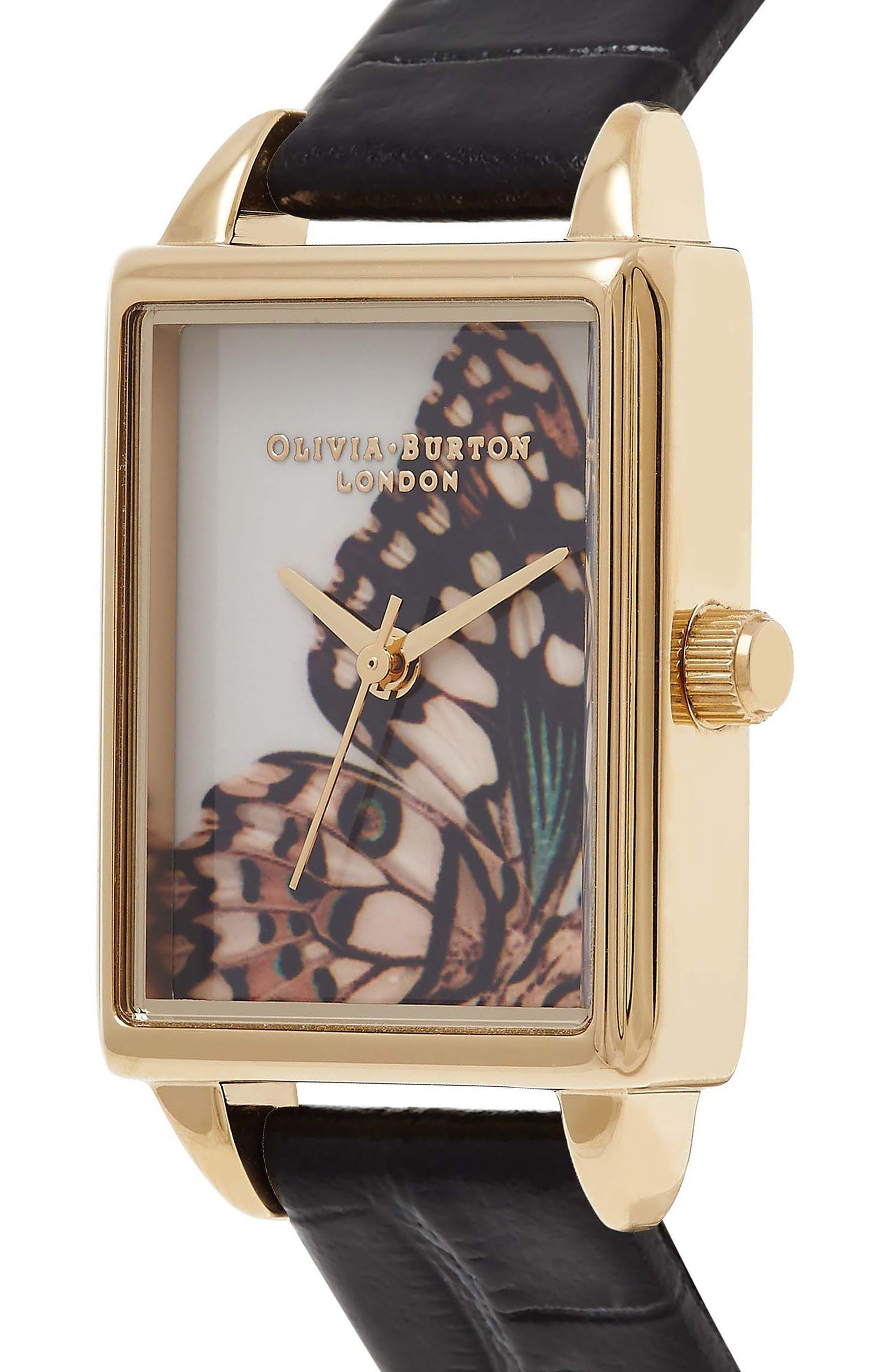 Alternate Image 3  - Olivia Burton Woodland Tank Leather Strap Watch, 30mm