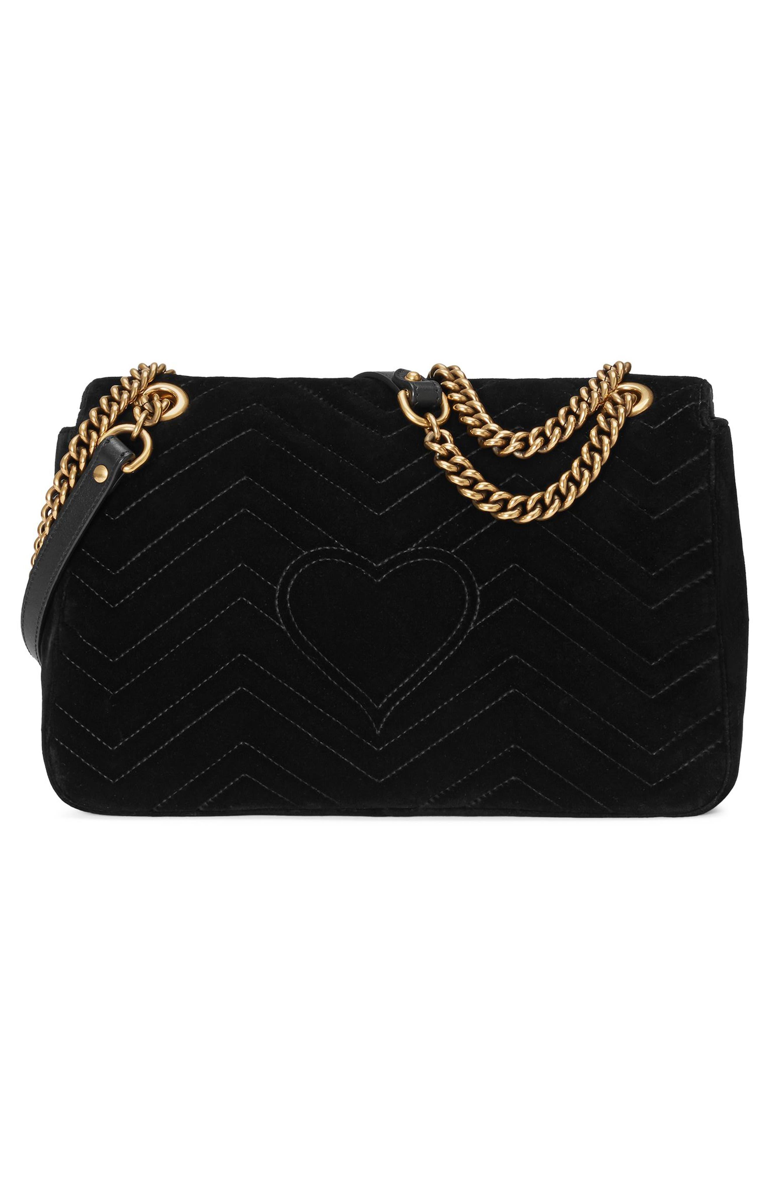 GG Marmont Loved Velvet Shoulder Bag,                             Alternate thumbnail 2, color,                             Nero Multi