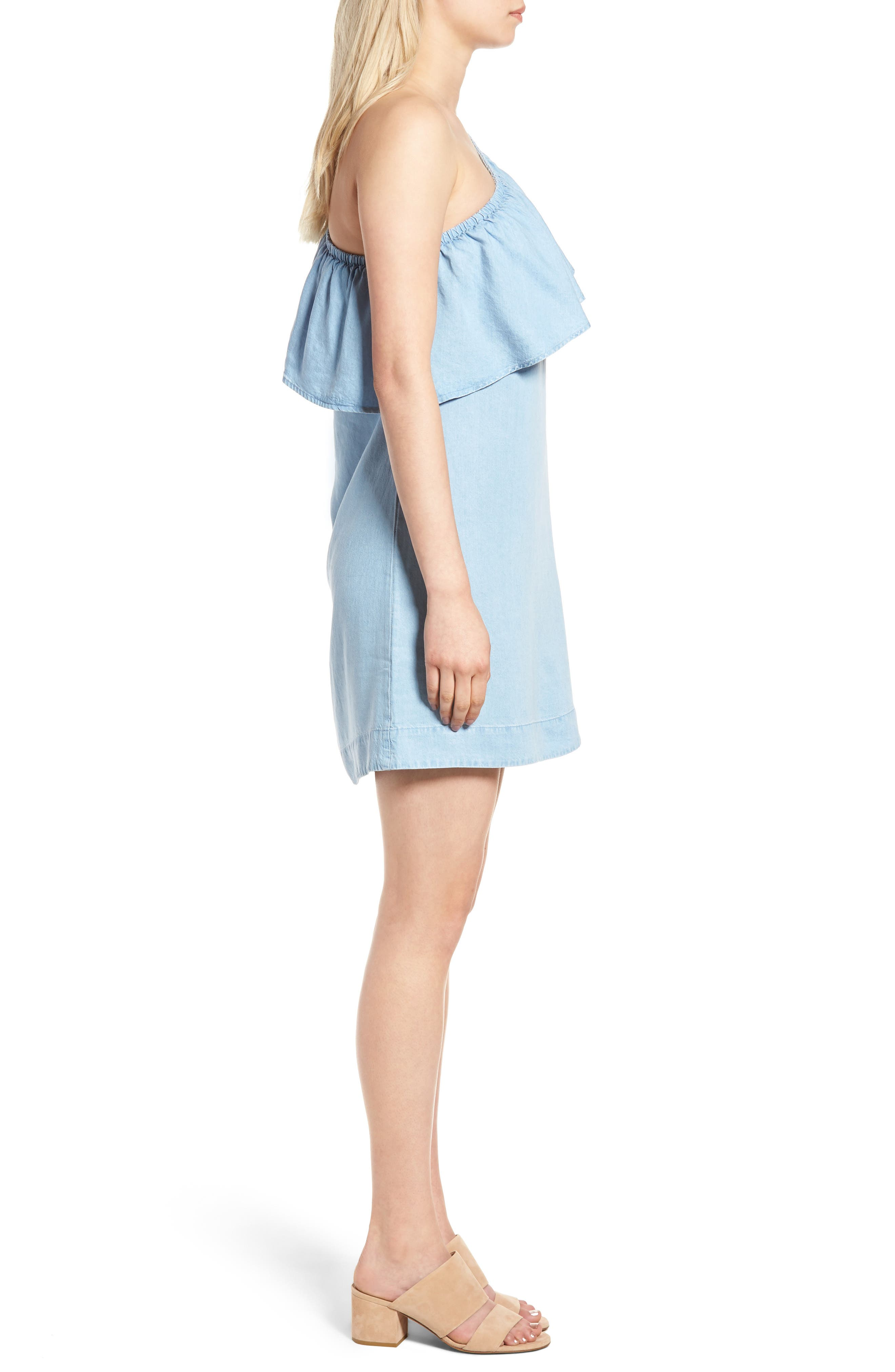 Chambray One-Shoulder Dress,                             Alternate thumbnail 3, color,                             Rio Vista Blue
