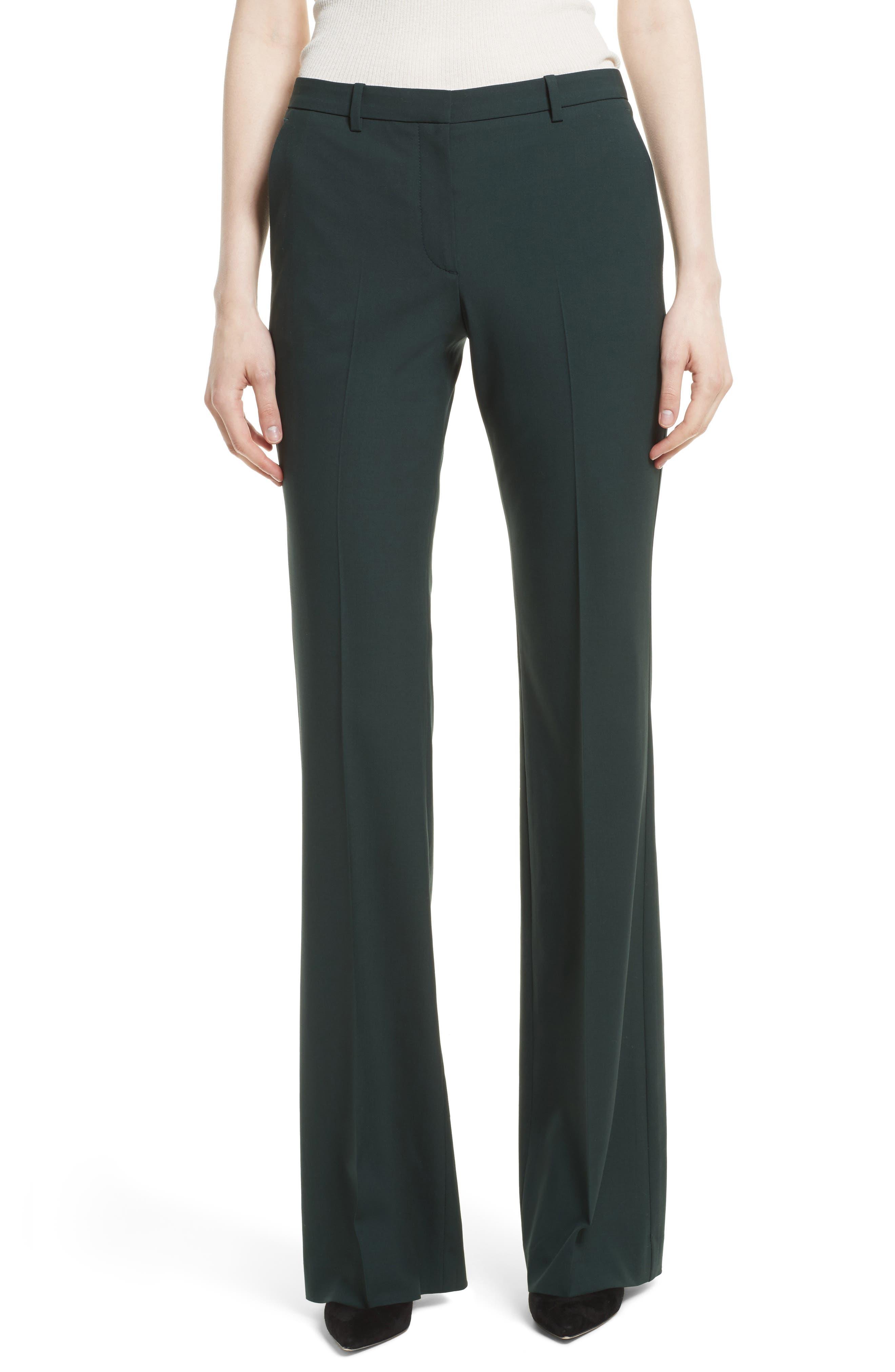 Demitria 2 Flare Leg Stretch Wool Pants,                         Main,                         color, Dark Billiard