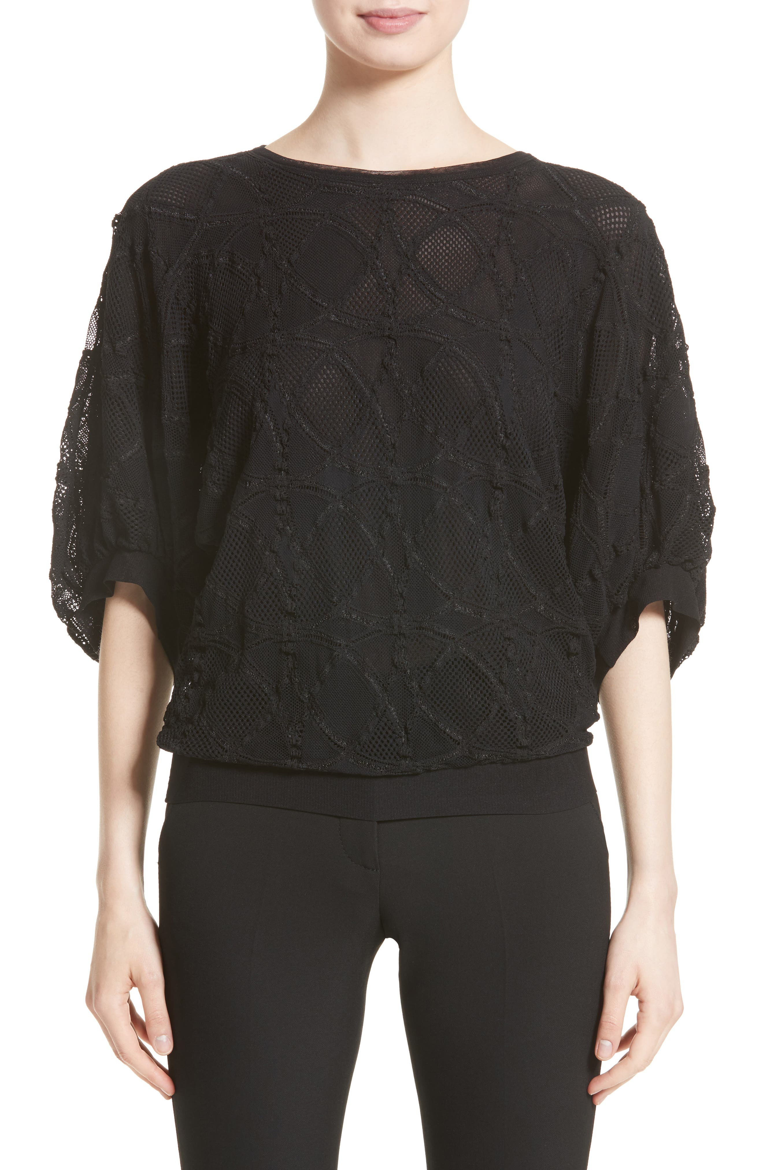 Lace Cocoon Sleeve Top,                         Main,                         color, Nero