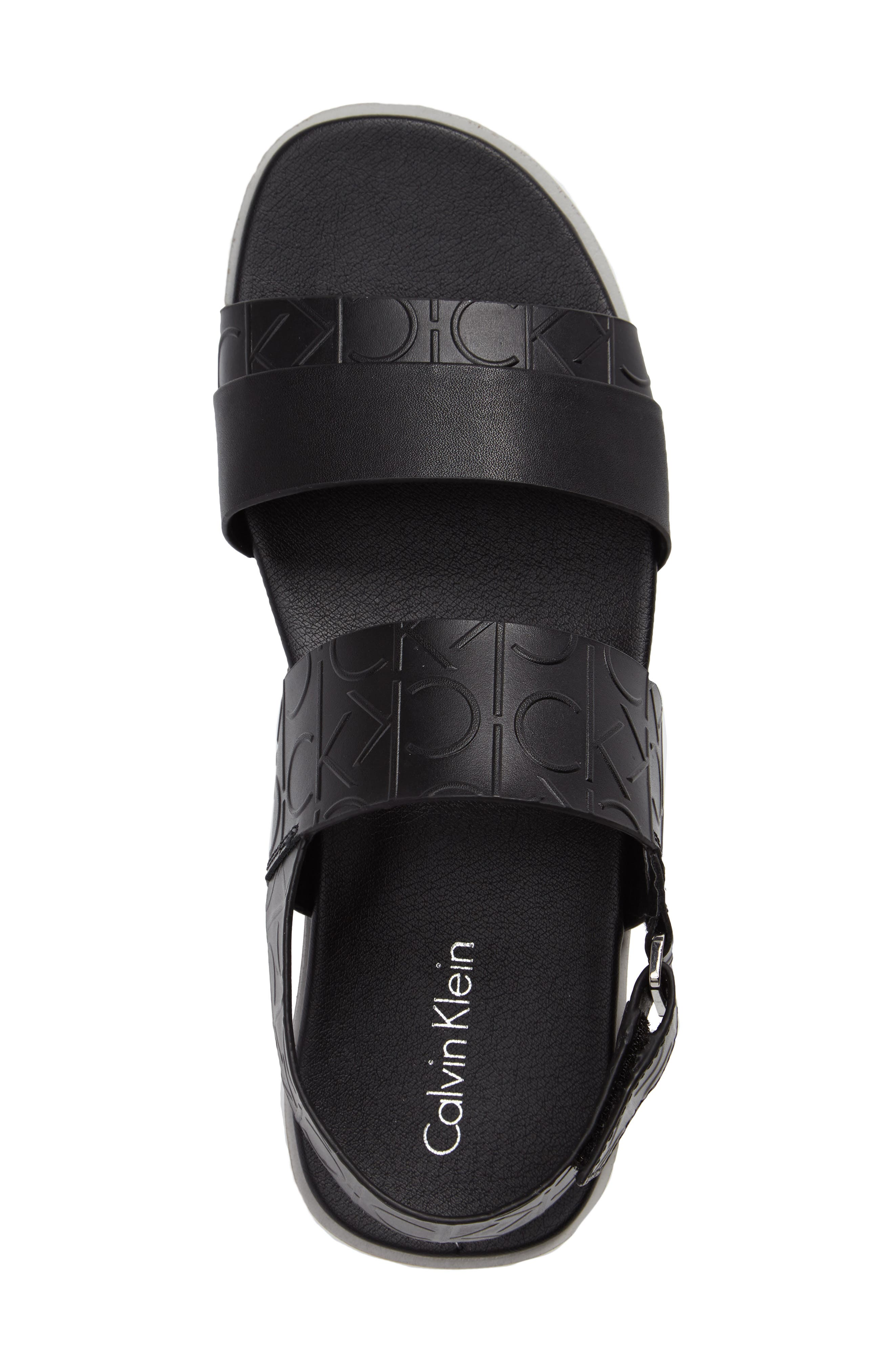 'Dex' Embossed Leather Sandal,                             Alternate thumbnail 3, color,                             Black/Black