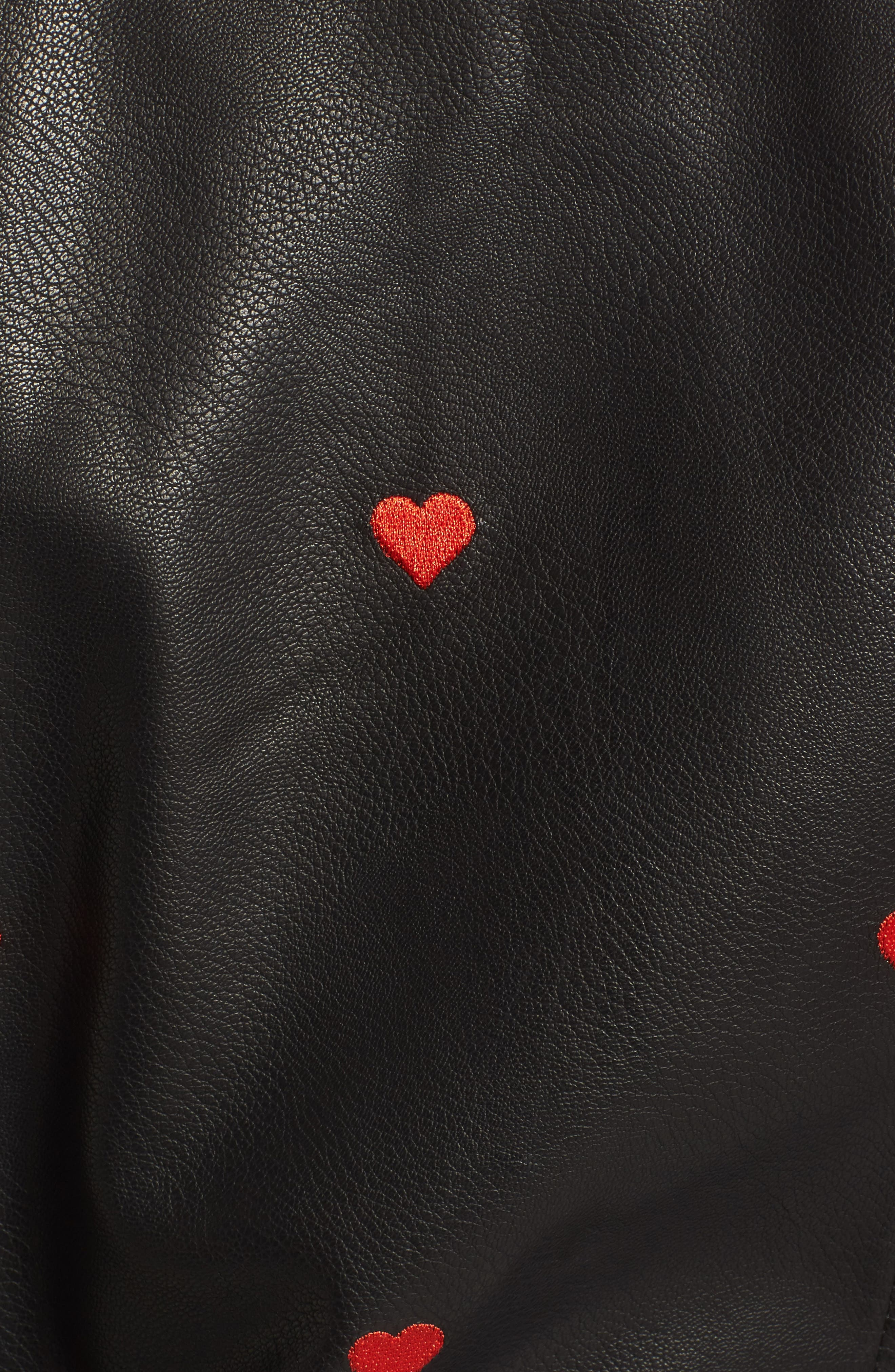 Heart Embroidered Faux Leather Moto Jacket,                             Alternate thumbnail 5, color,                             Black