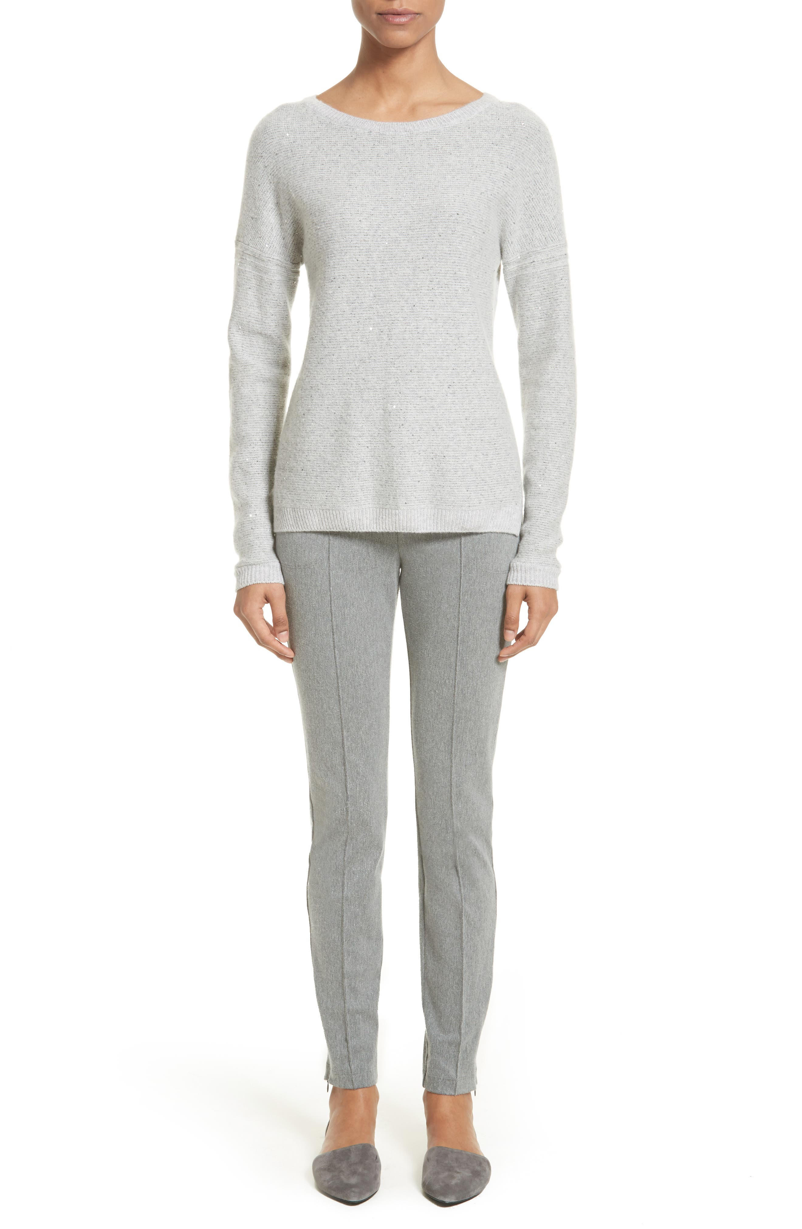 Micro Sequin Stripe Reverse Jersey Cashmere Blend Sweater,                             Alternate thumbnail 7, color,                             Light Grey Melange