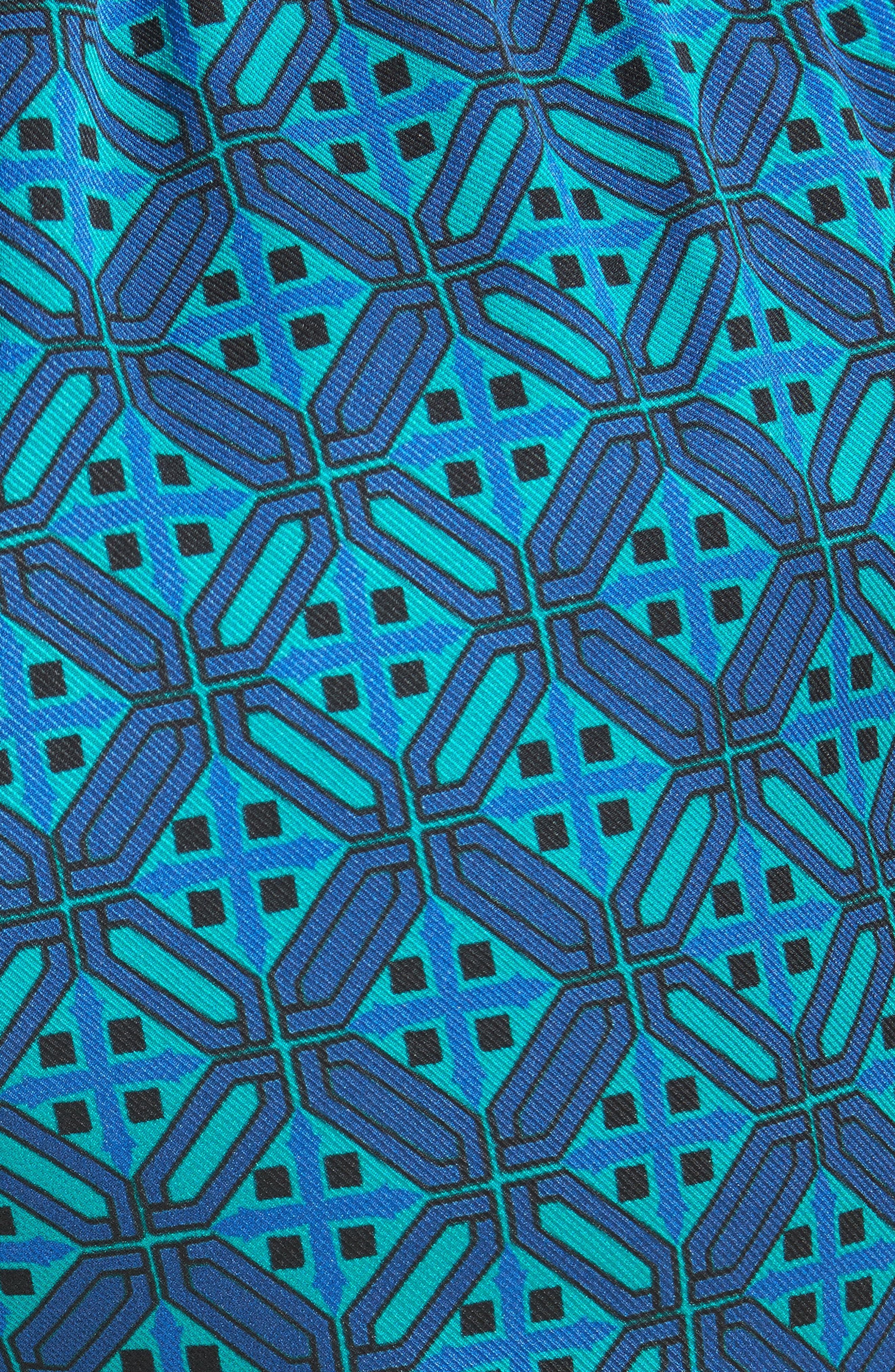 Ratan Print Stretch Silk Twill Pants,                             Alternate thumbnail 6, color,                             Azurite Multi