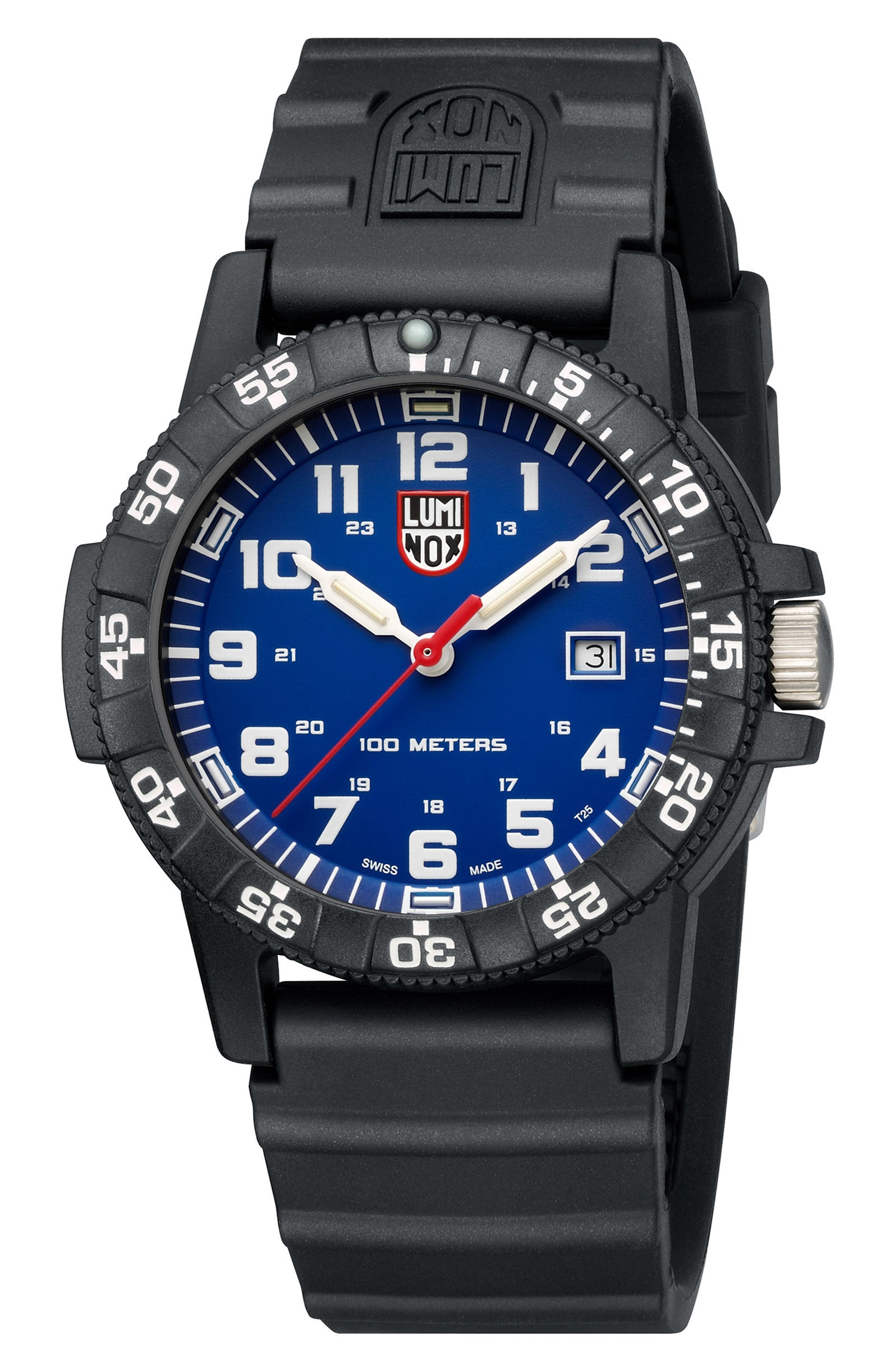 Sea Turtle 0320 Polyurethane Strap Watch, 44mm,                             Alternate thumbnail 3, color,                             Blue/ Black