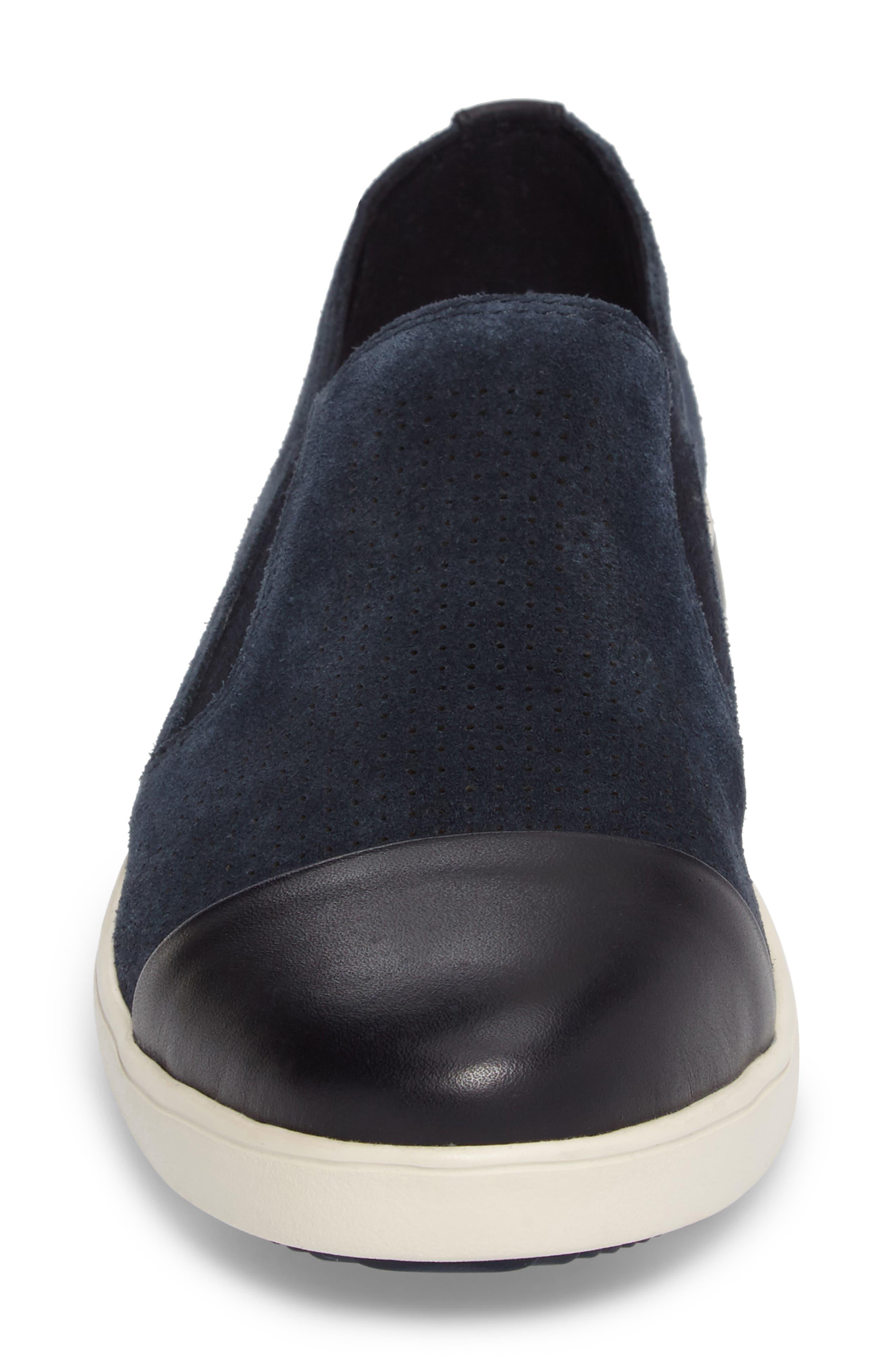 Aviana Cap Toe Slip-On Sneaker,                             Alternate thumbnail 4, color,                             Lagoon Suede
