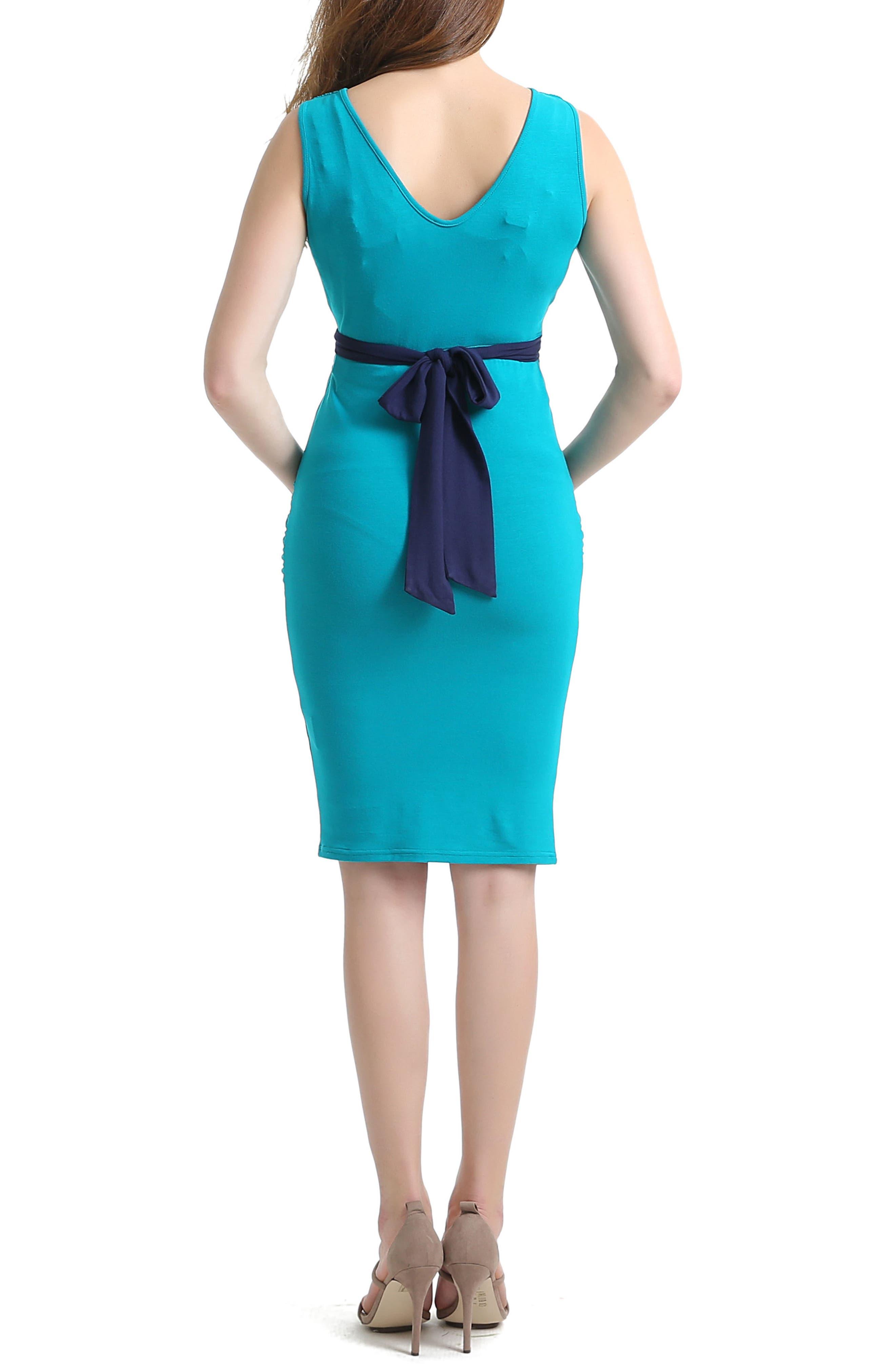 Knot Empire Waist Maternity Dress,                             Alternate thumbnail 2, color,                             Teal