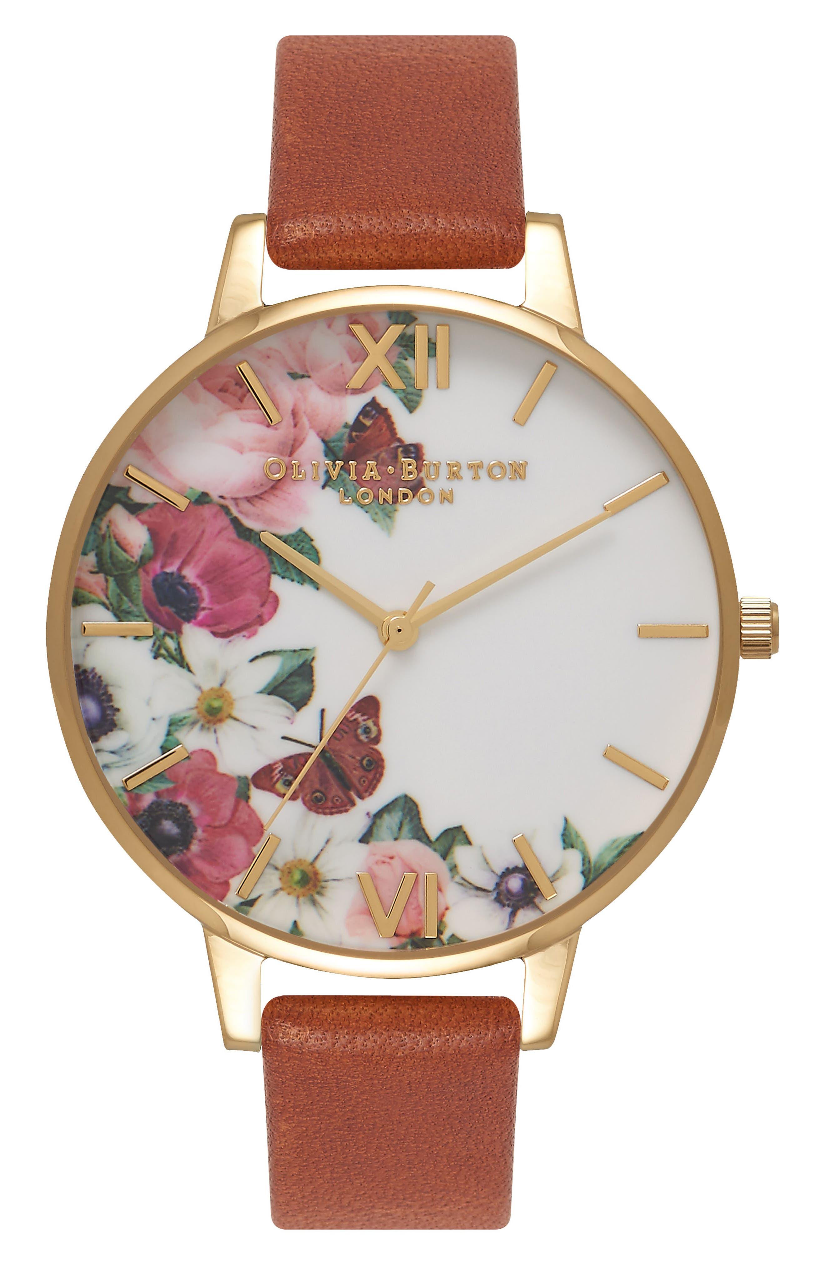 Olivia Burton English Garden Leather Strap Watch, 38mm