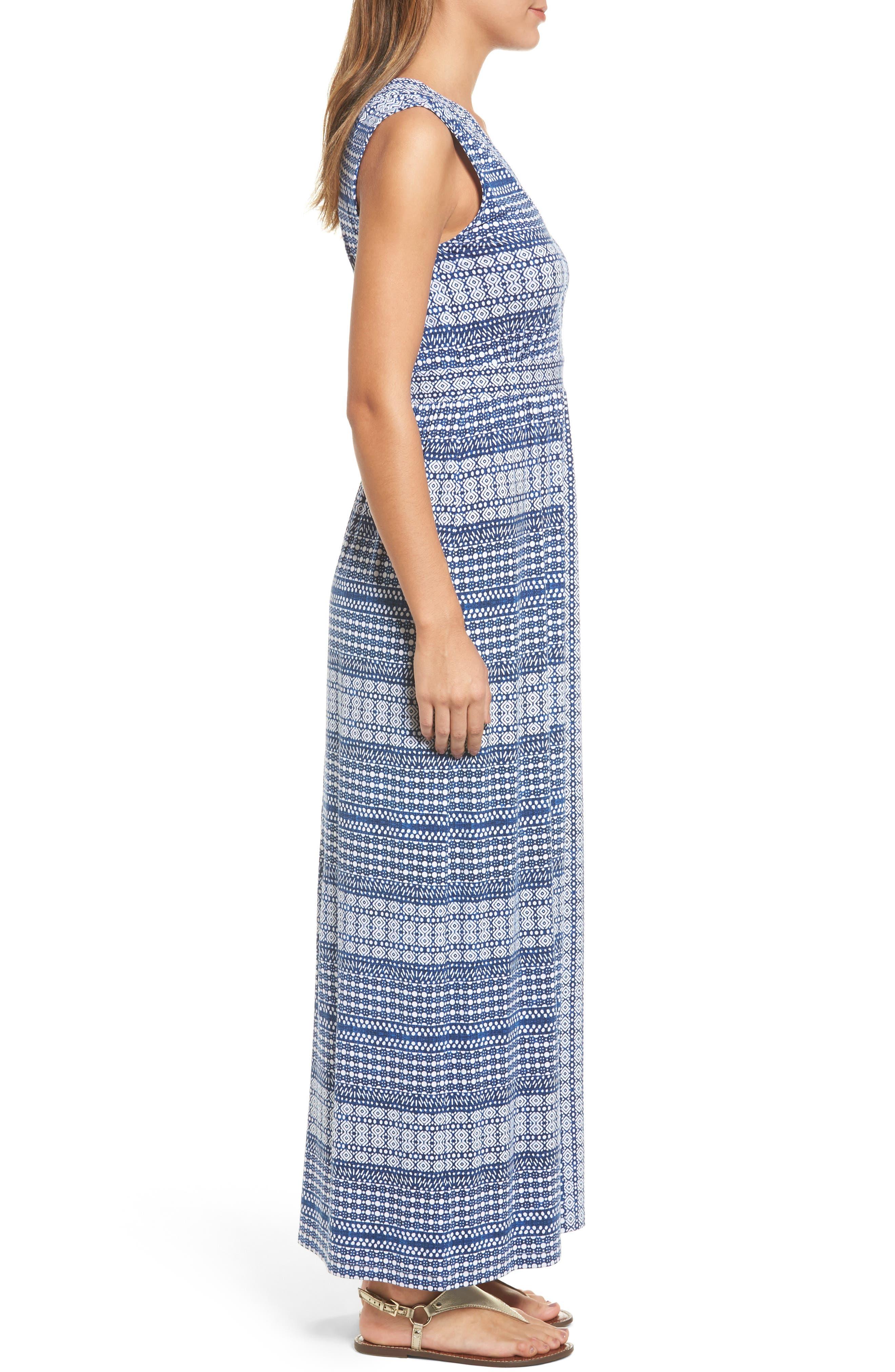 Greek Grid Maxi Dress,                             Alternate thumbnail 3, color,                             Kingdom Blue